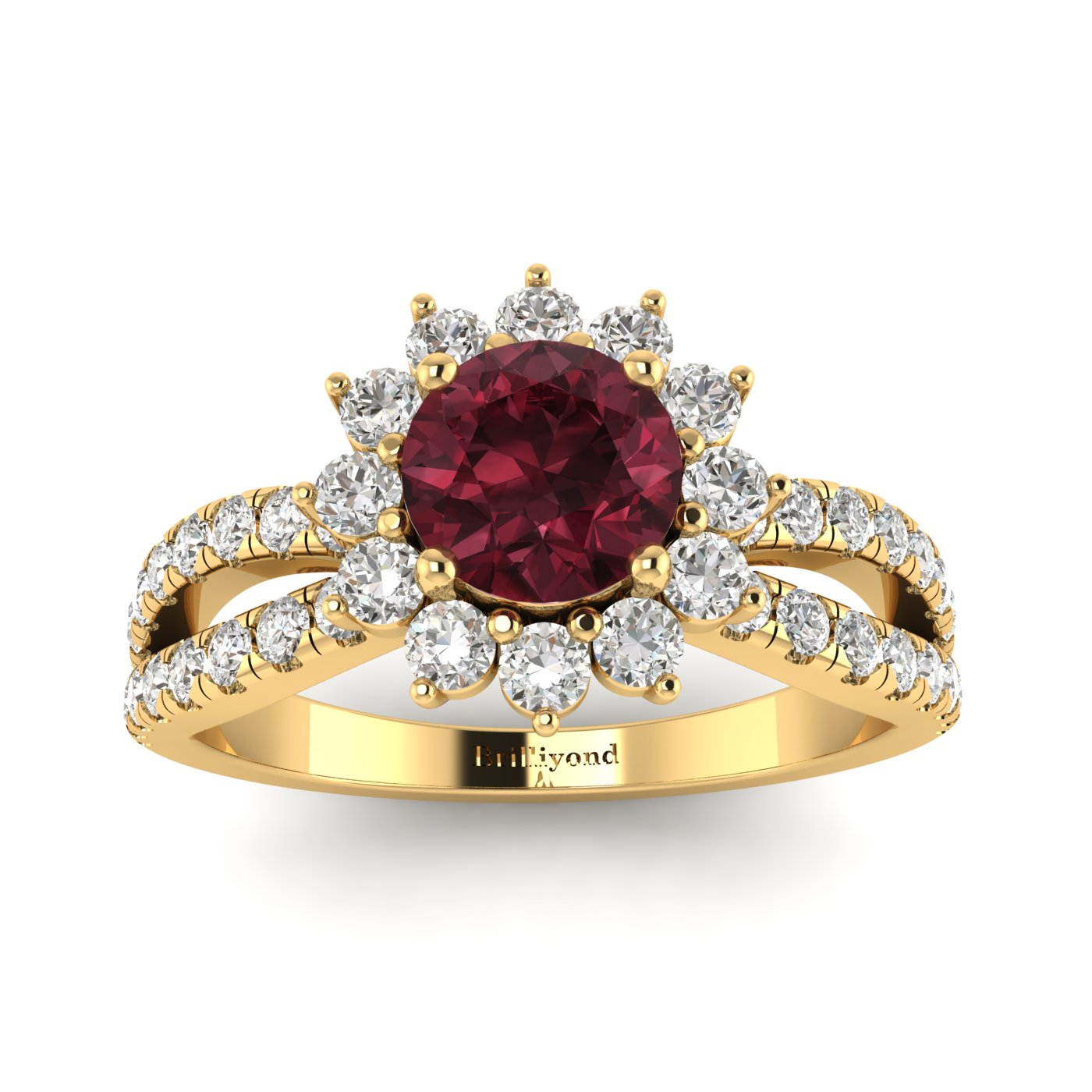 Garnet Yellow Gold Halo Engagement Ring Nefertari_image1