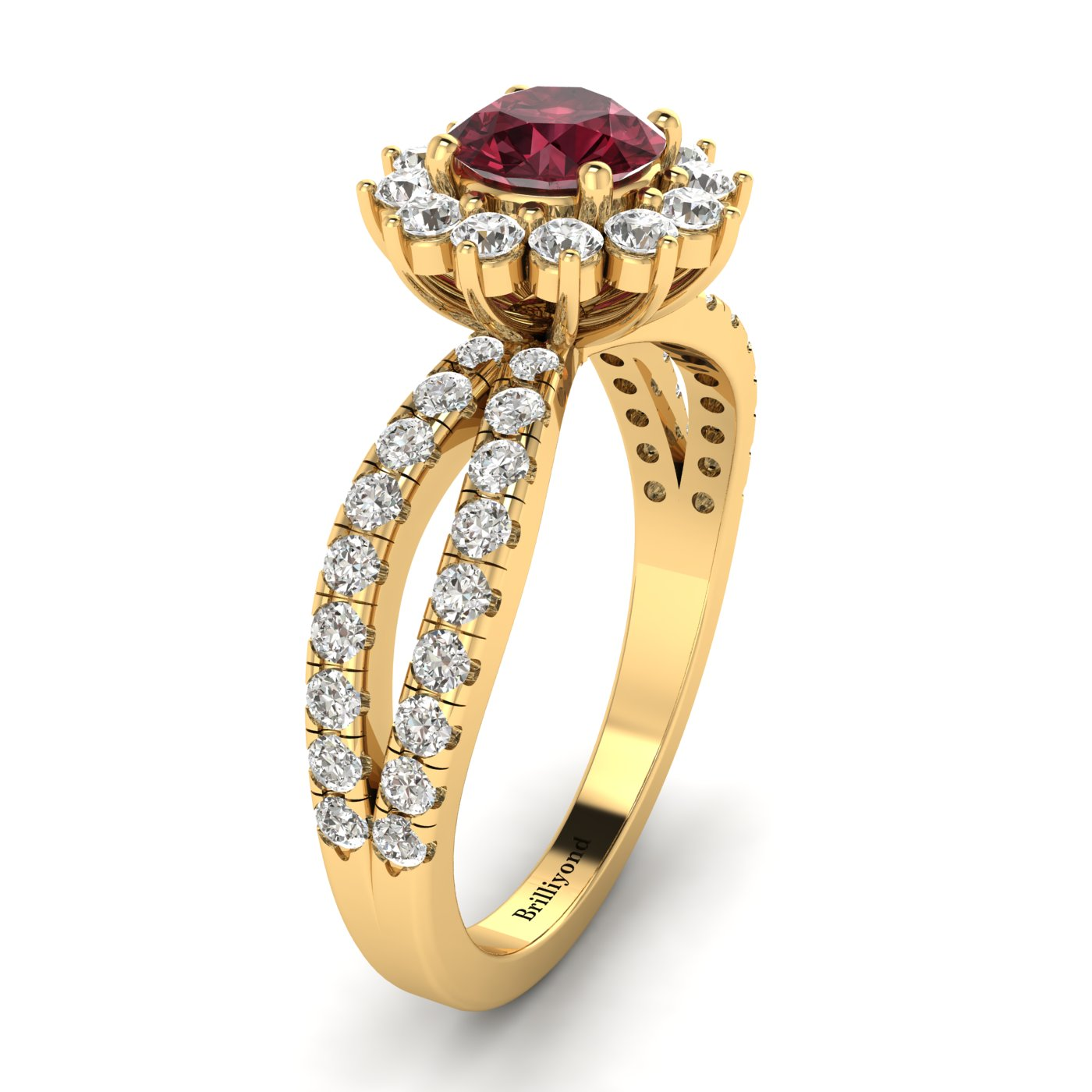 Garnet Yellow Gold Halo Engagement Ring Nefertari_image2