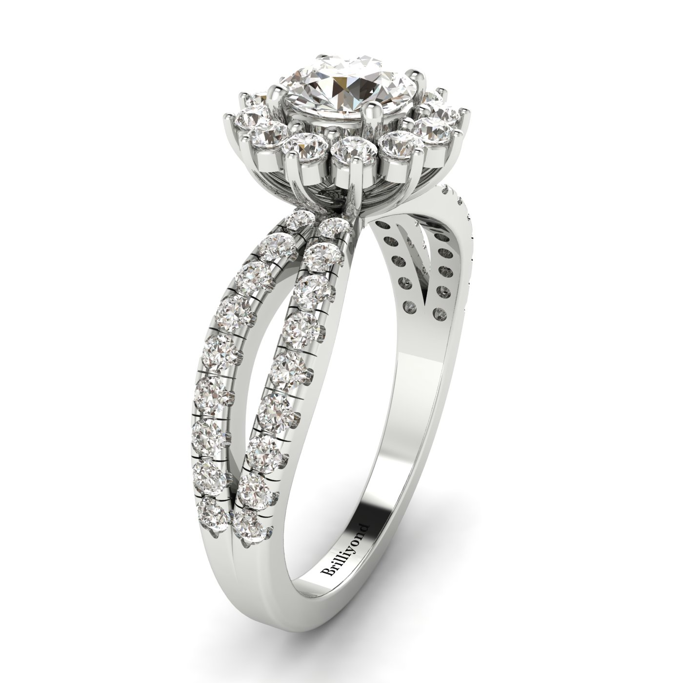 White Sapphire White Gold Halo Engagement Ring Nefertari_image1