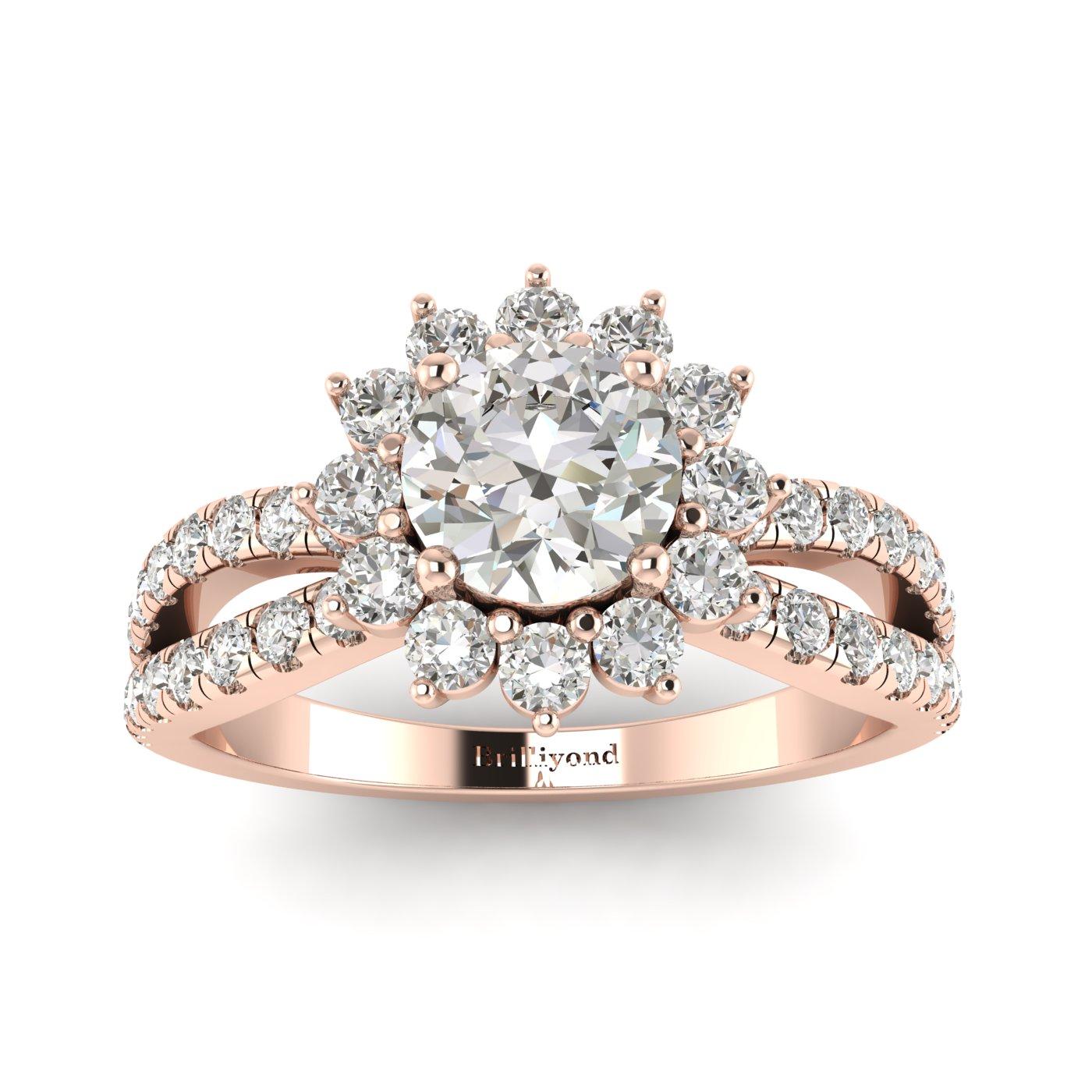 White Sapphire Rose Gold Halo Engagement Ring Nefertari_image1