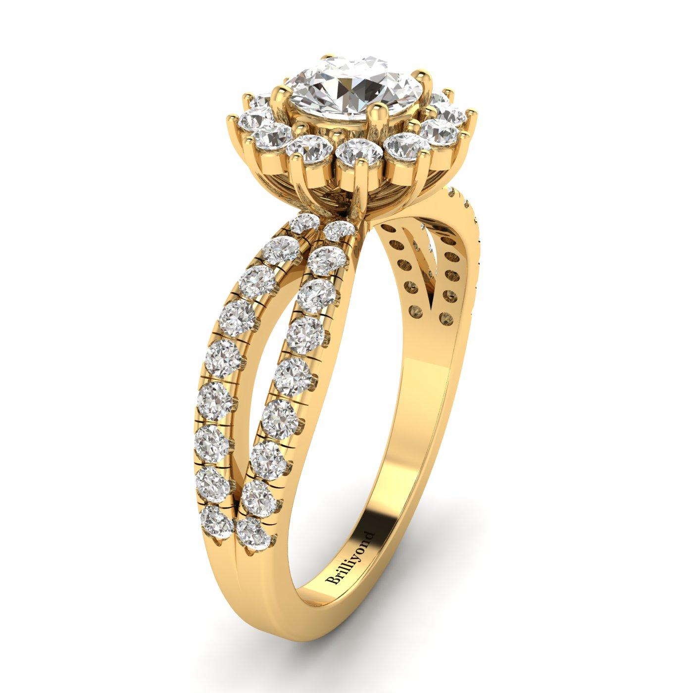 White Sapphire Yellow Gold Halo Engagement Ring Nefertari_image1