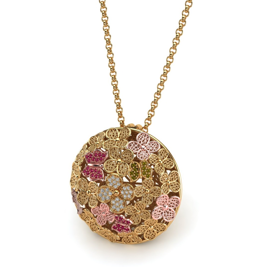 Close up view of The Blossom Time necklace pendant from Brilliyond.