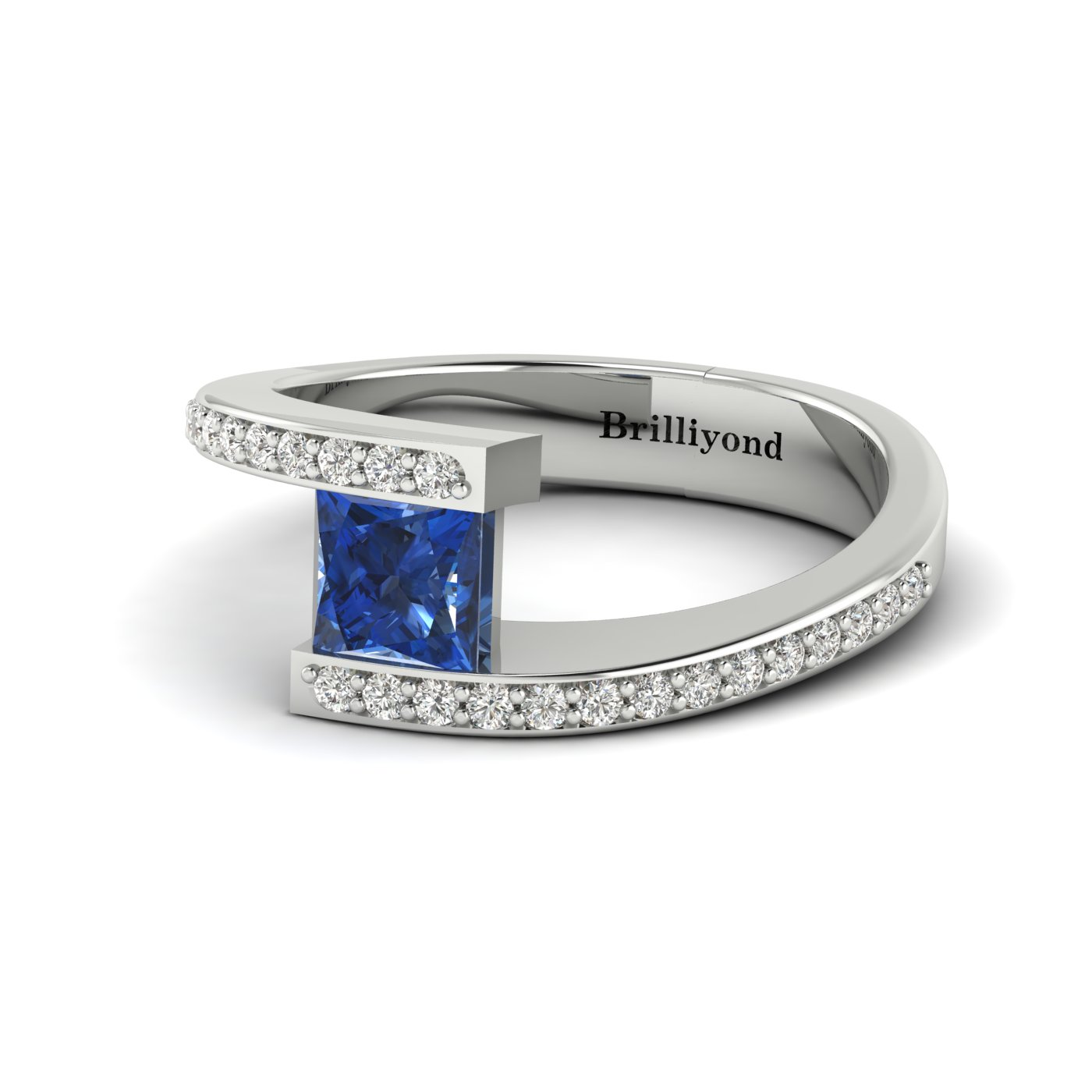 Blue Sapphire White Gold Cushion Cut Engagement Ring Sheba_image1