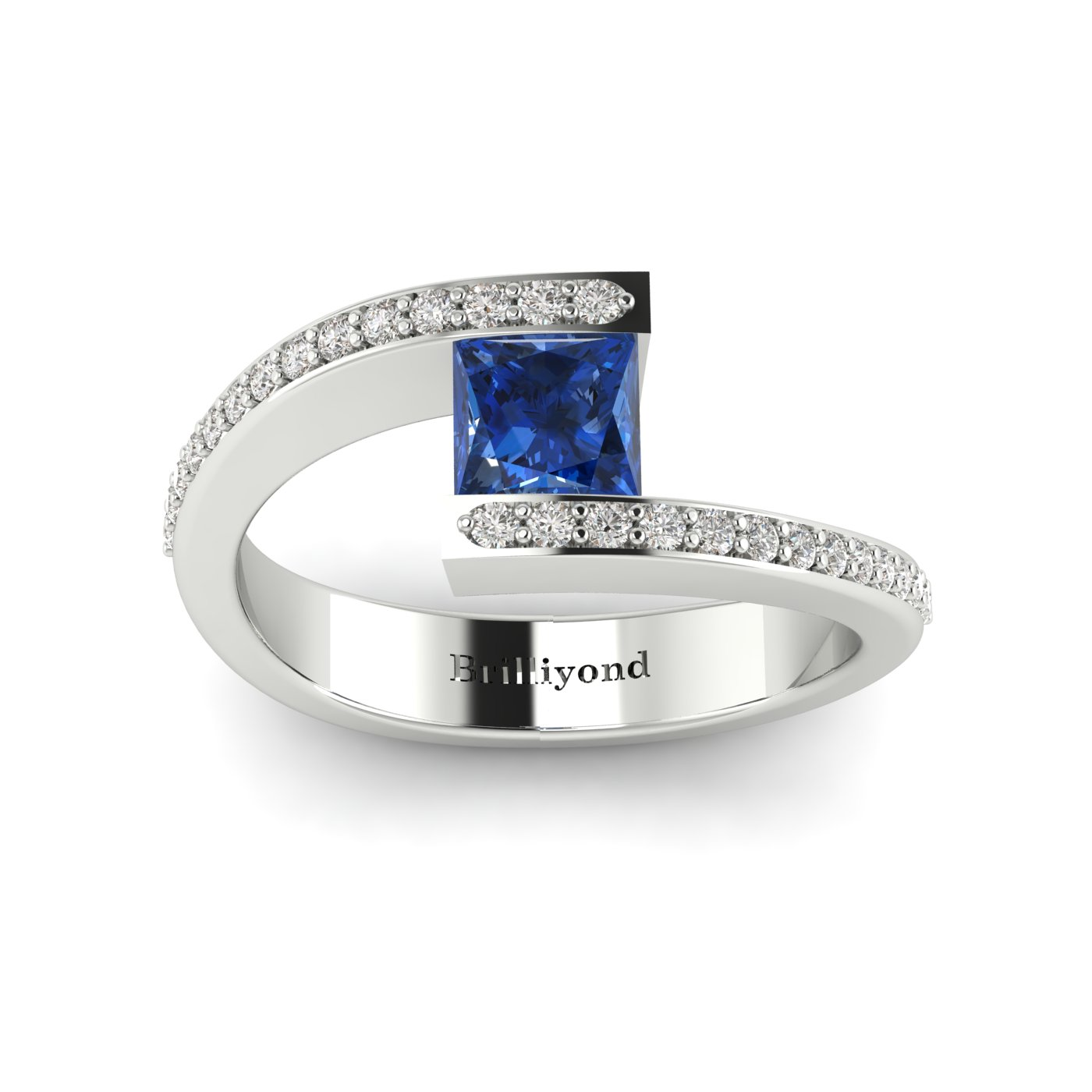 Blue Sapphire White Gold Cushion Cut Engagement Ring Sheba_image2