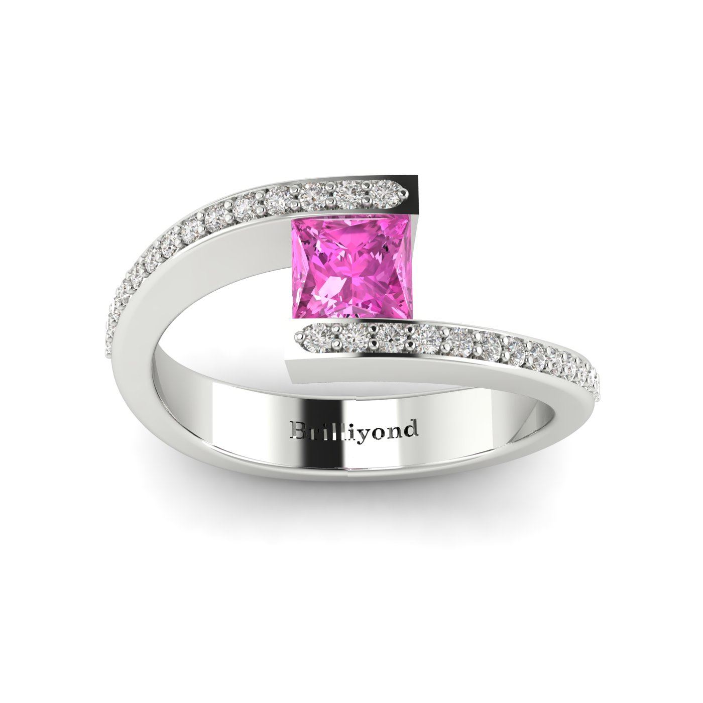 Pink Sapphire White Gold Cushion Cut Engagement Ring Sheba_image1