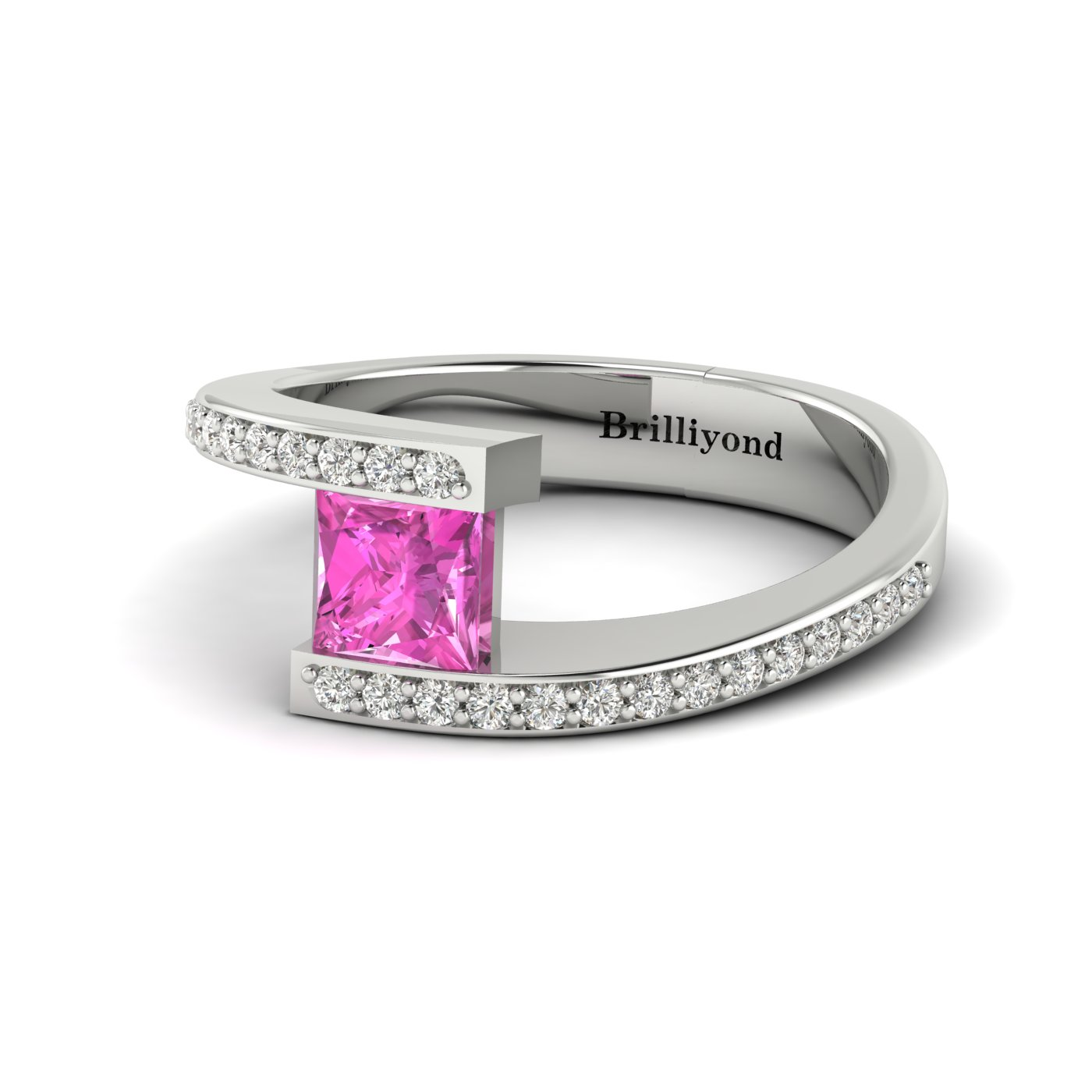 Pink Sapphire White Gold Cushion Cut Engagement Ring Sheba_image2