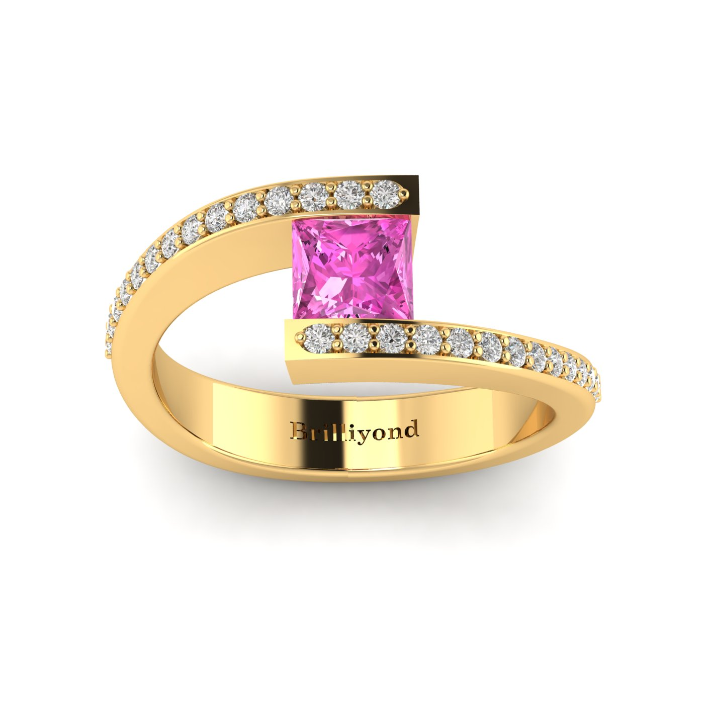 Pink Sapphire Yellow Gold Cushion Cut Engagement Ring Sheba_image1