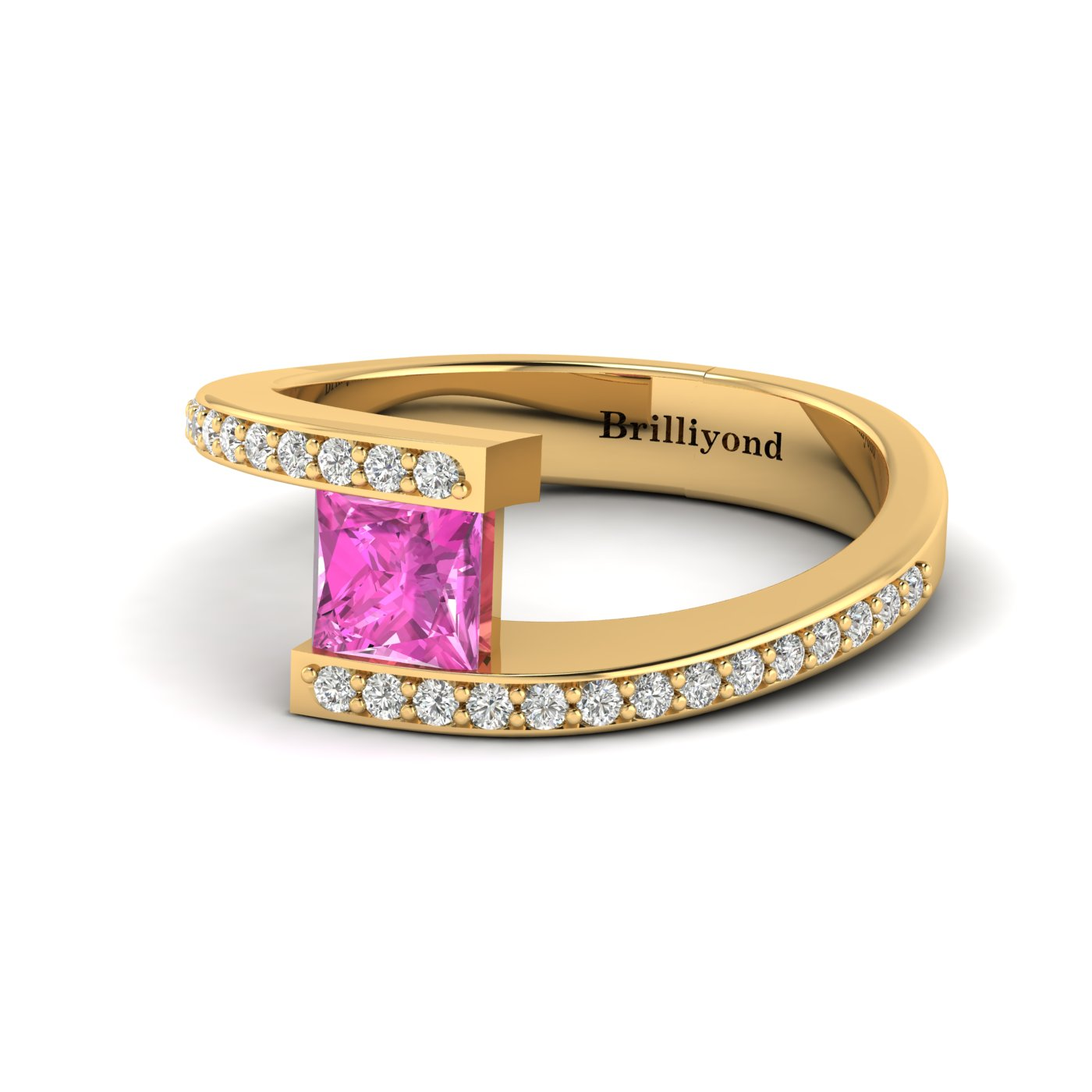 Pink Sapphire Yellow Gold Cushion Cut Engagement Ring Sheba_image2