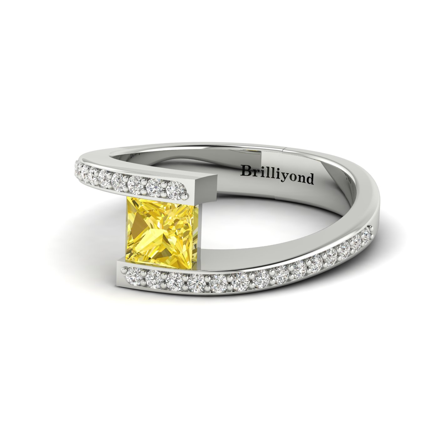 Yellow Sapphire White Gold Cushion Cut Engagement Ring Sheba_image1