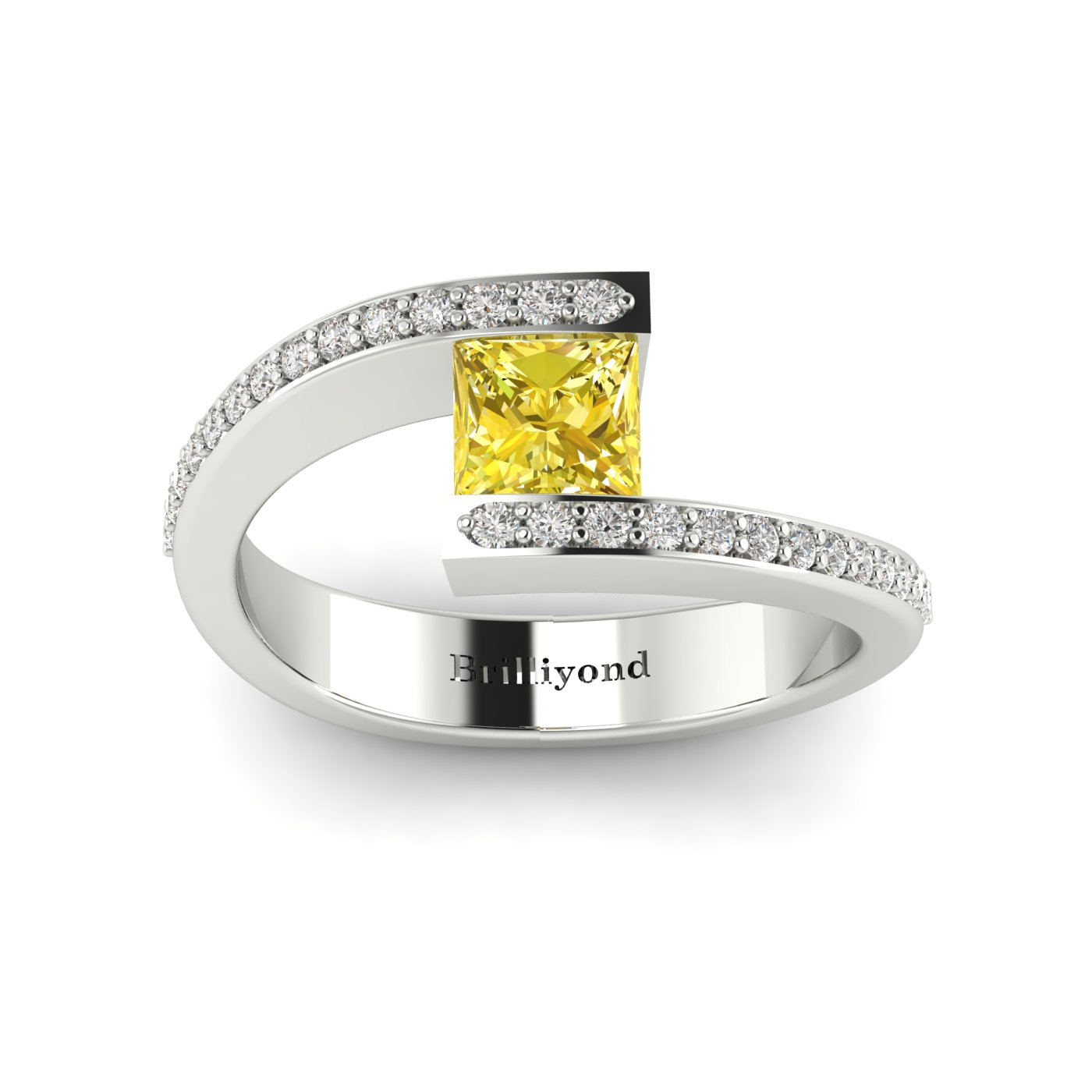 Yellow Sapphire White Gold Cushion Cut Engagement Ring Sheba_image2