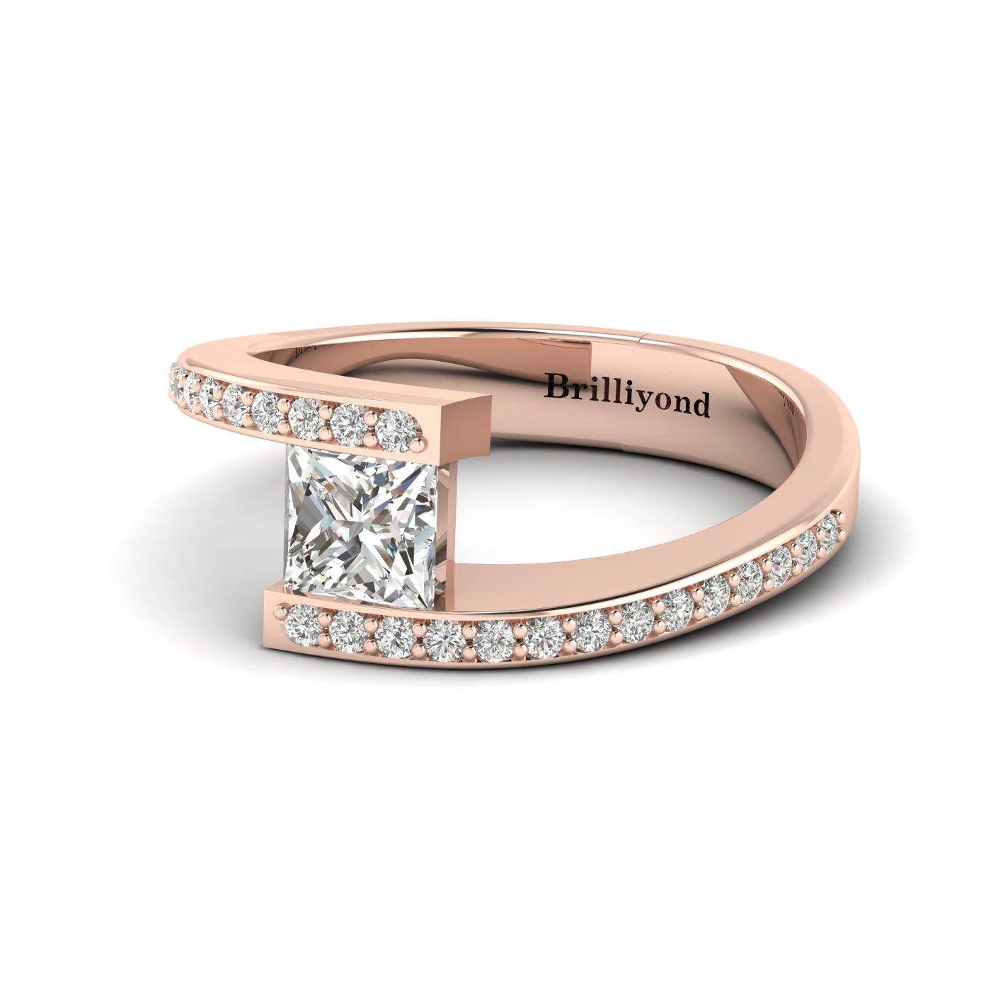 Diamond Rose Gold Princess Cut Engagement Ring Sheba_image1