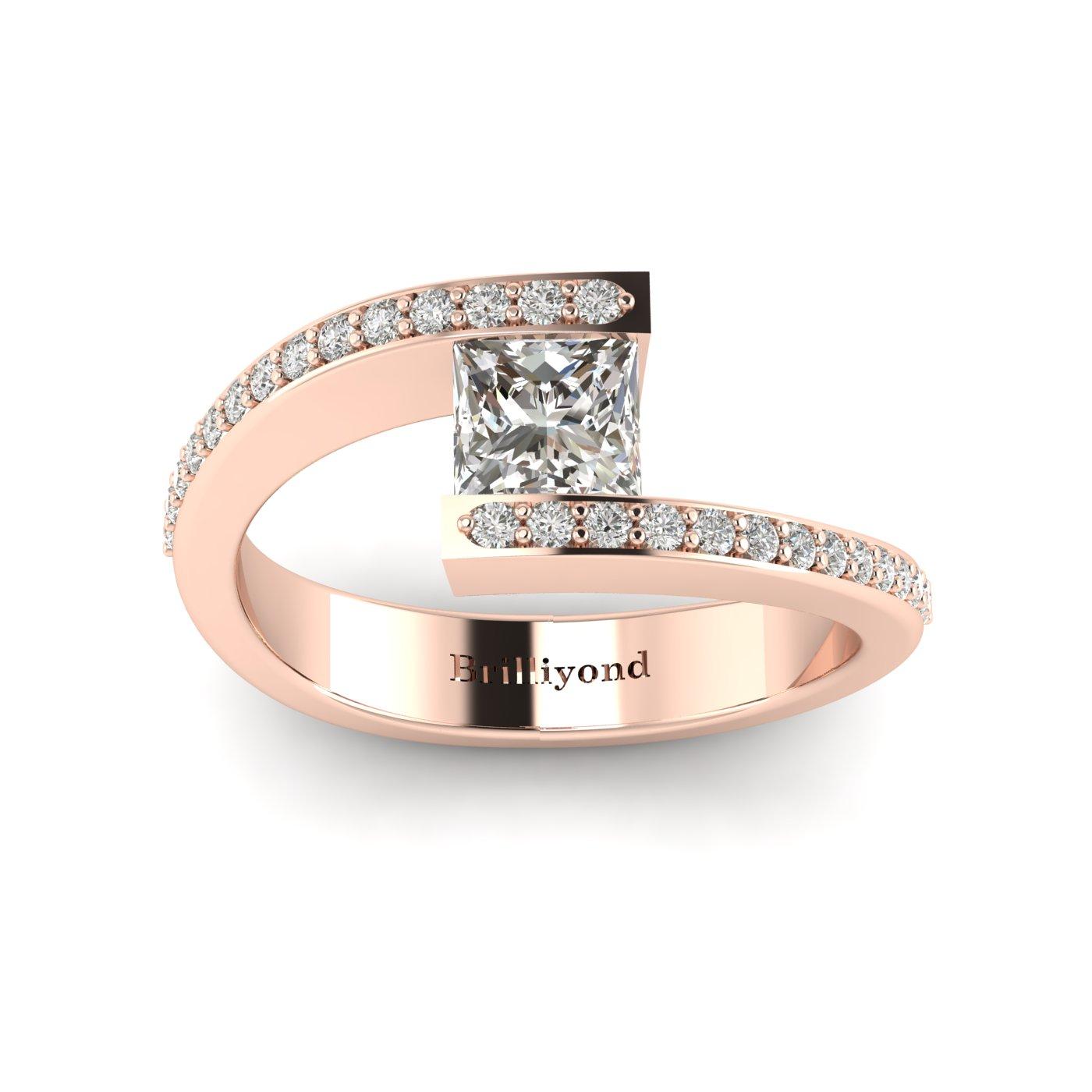 Diamond Rose Gold Princess Cut Engagement Ring Sheba_image2