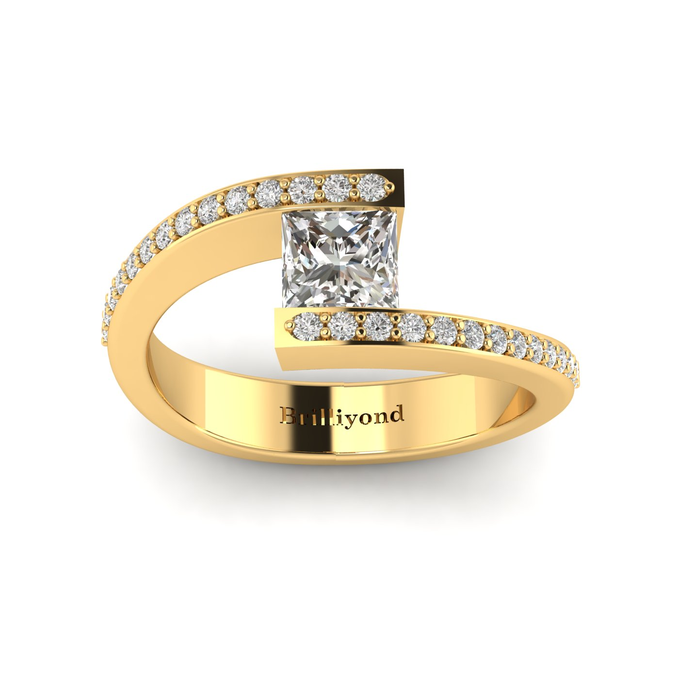 Diamond Yellow Gold Princess Cut Engagement Ring Sheba_image1