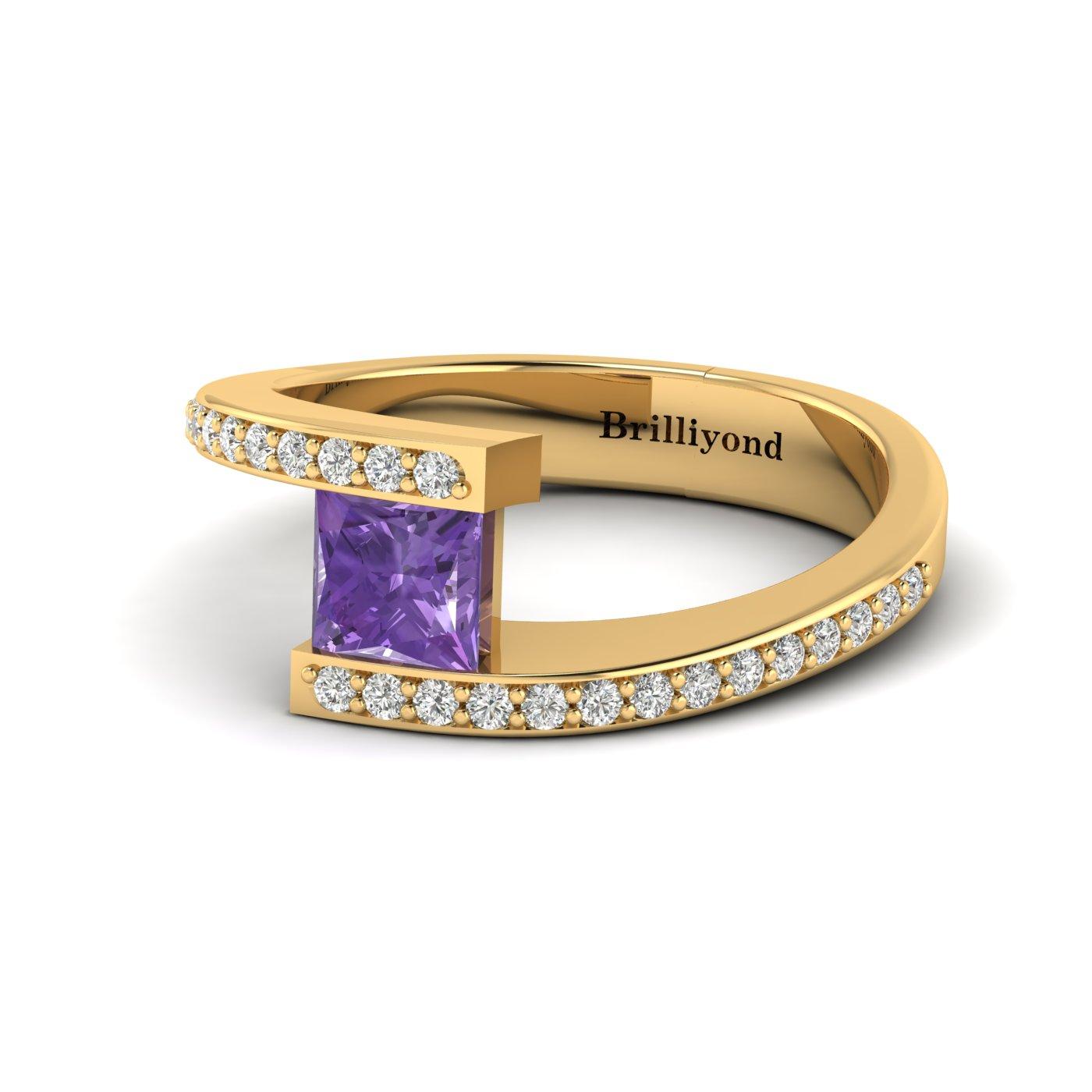 Amethyst Yellow Gold Cushion Cut Engagement Ring Sheba_image1
