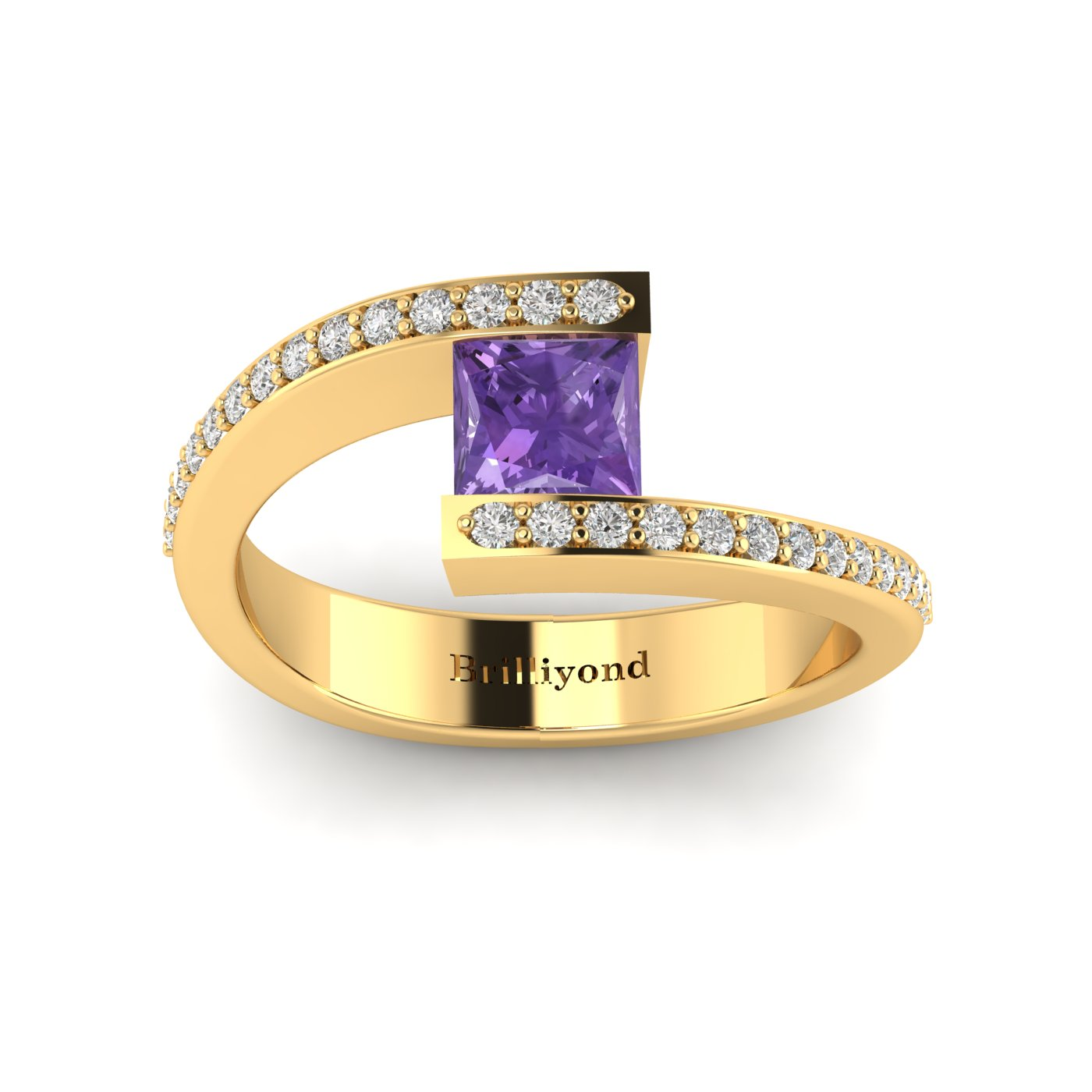 Amethyst Yellow Gold Cushion Cut Engagement Ring Sheba_image2