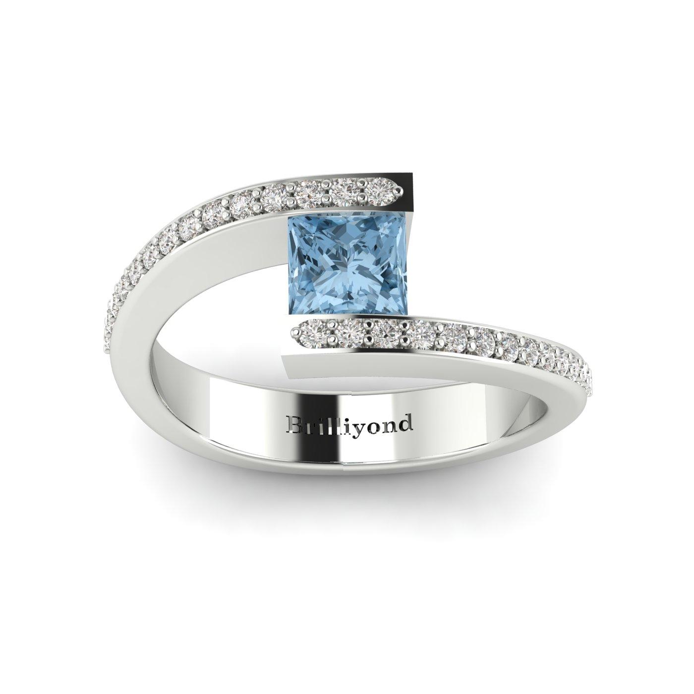 Aquamarine White Gold Cushion Cut Engagement Ring Sheba_image1