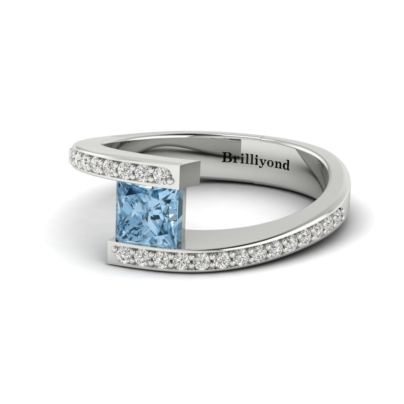 Aquamarine White Gold Cushion Cut Engagement Ring Sheba_image2