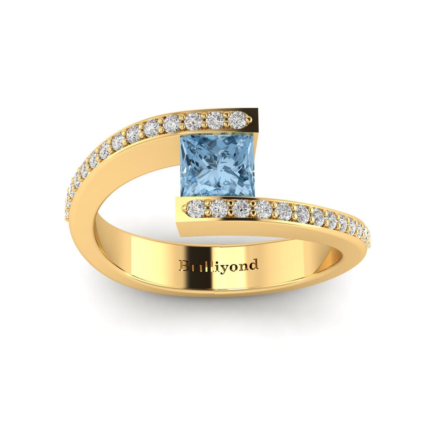 Aquamarine Yellow Gold Cushion Cut Engagement Ring Sheba_image1