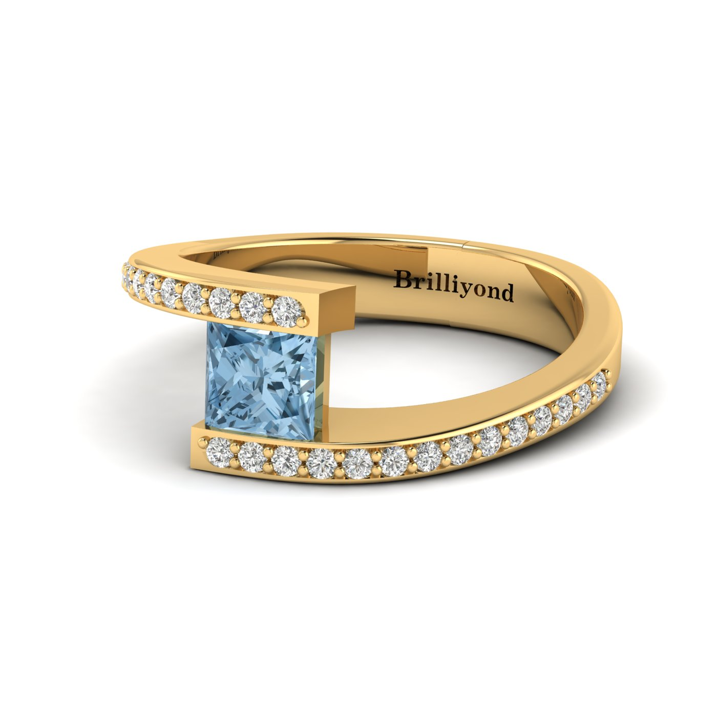 Aquamarine Yellow Gold Cushion Cut Engagement Ring Sheba_image2