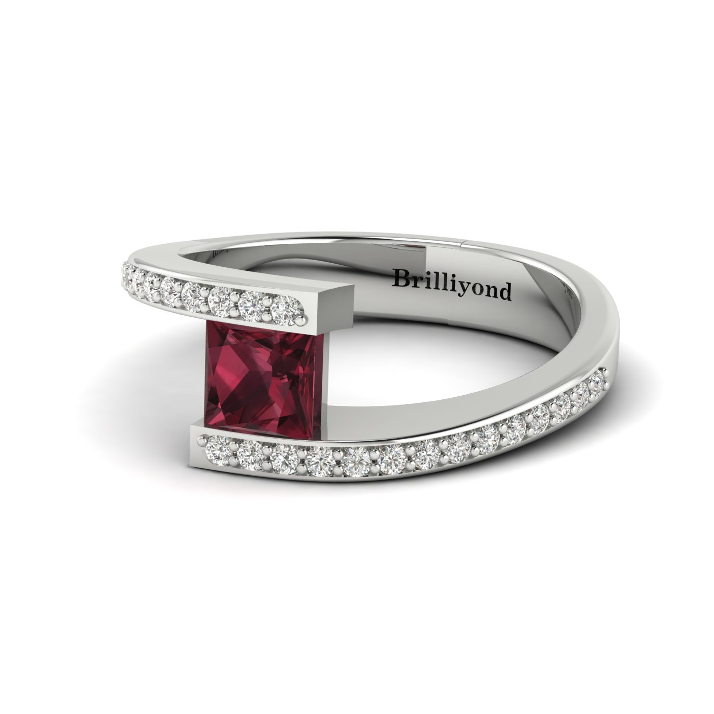 Garnet White Gold Cushion Cut Engagement Ring Sheba_image1
