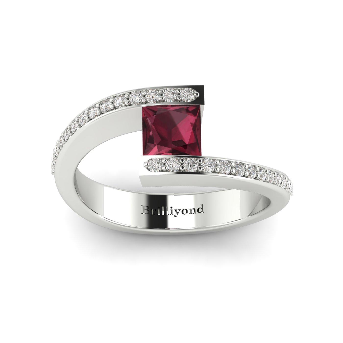 Garnet White Gold Cushion Cut Engagement Ring Sheba_image2