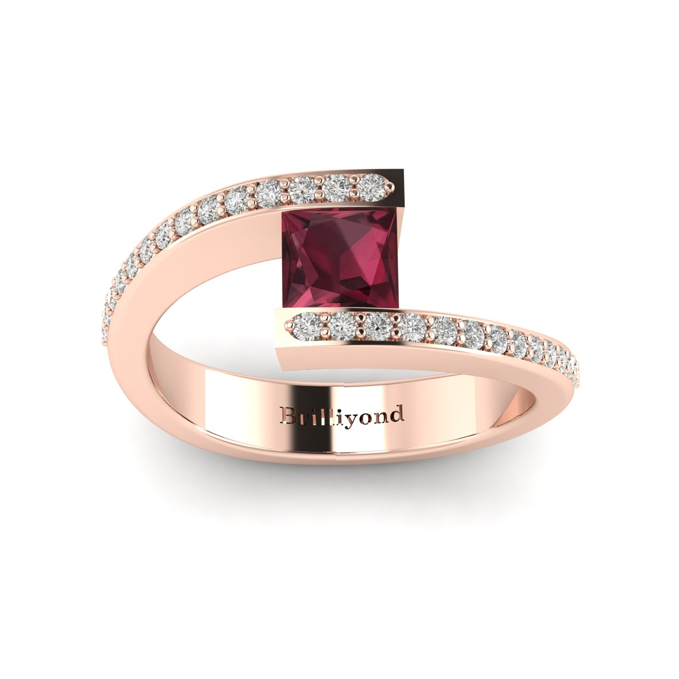 Garnet Rose Gold Cushion Cut Engagement Ring Sheba_image1