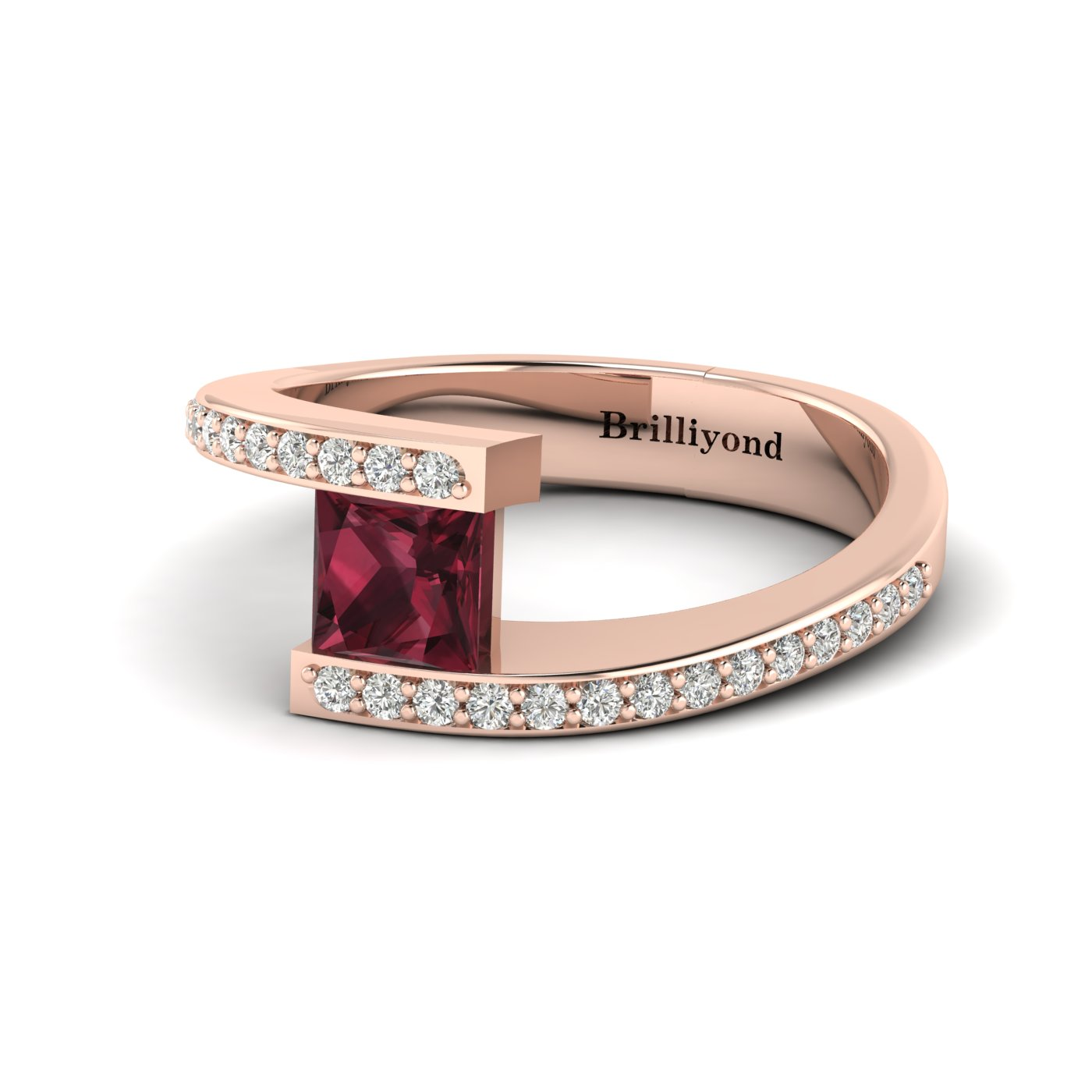 Garnet Rose Gold Cushion Cut Engagement Ring Sheba_image2