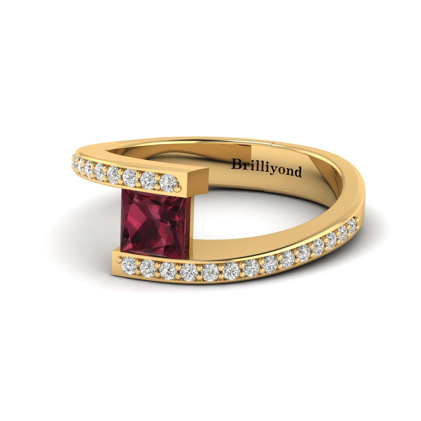 Garnet Yellow Gold Cushion Cut Engagement Ring Sheba_image1