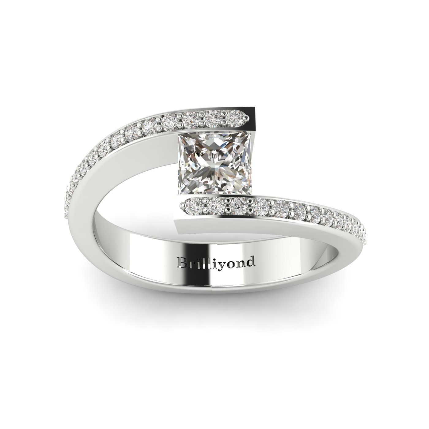 White Sapphire White Gold Cushion Cut Engagement Ring Sheba_image1