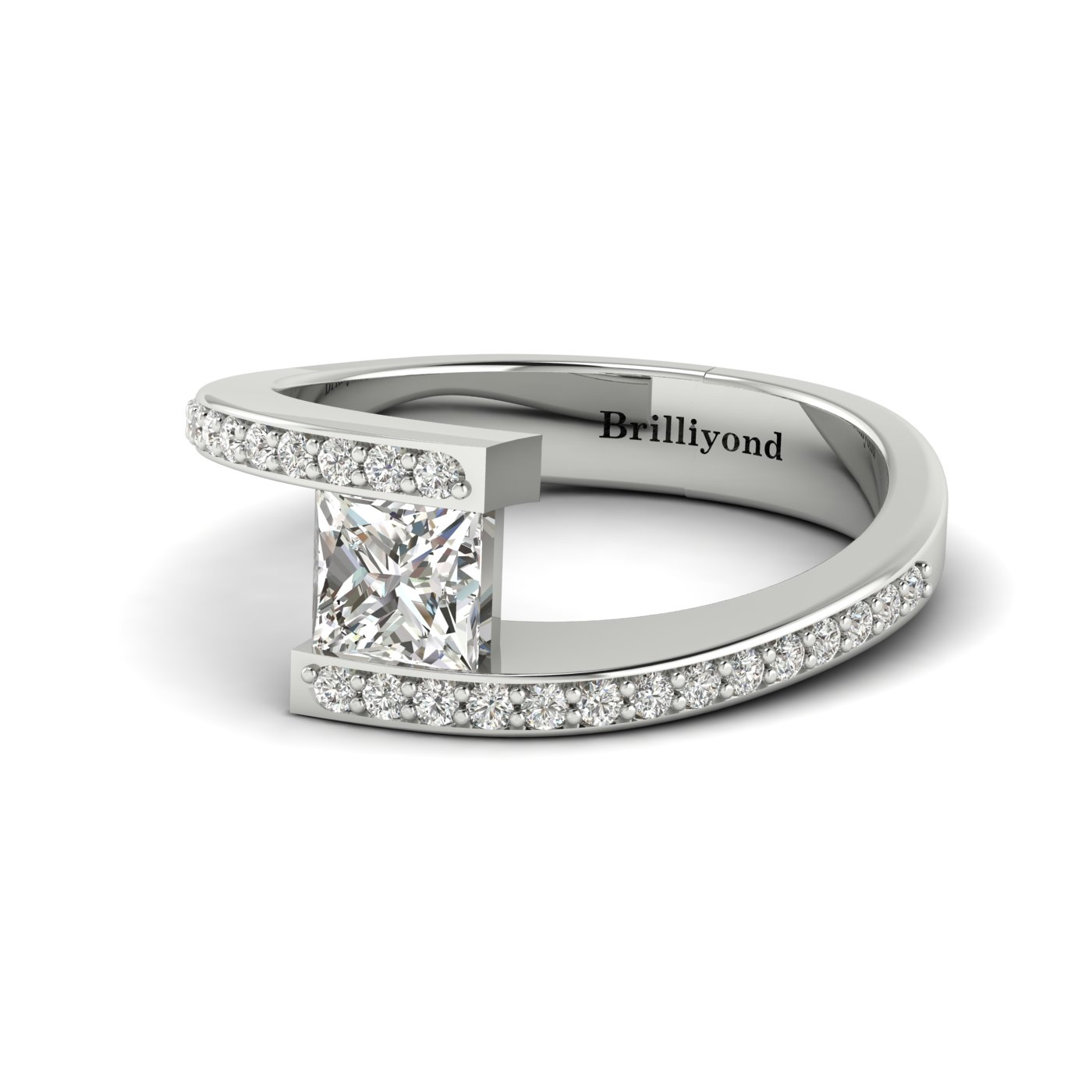 White Sapphire White Gold Cushion Cut Engagement Ring Sheba_image2