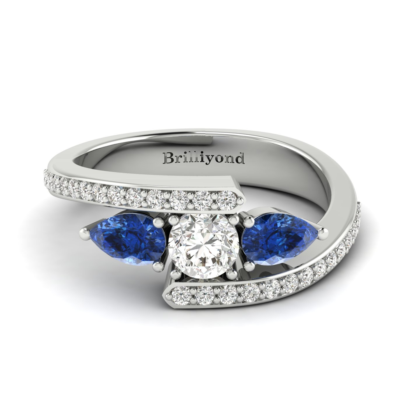White Sapphire Blue Sapphire White Gold Colour Accented Engagement Ring Naiad_image1