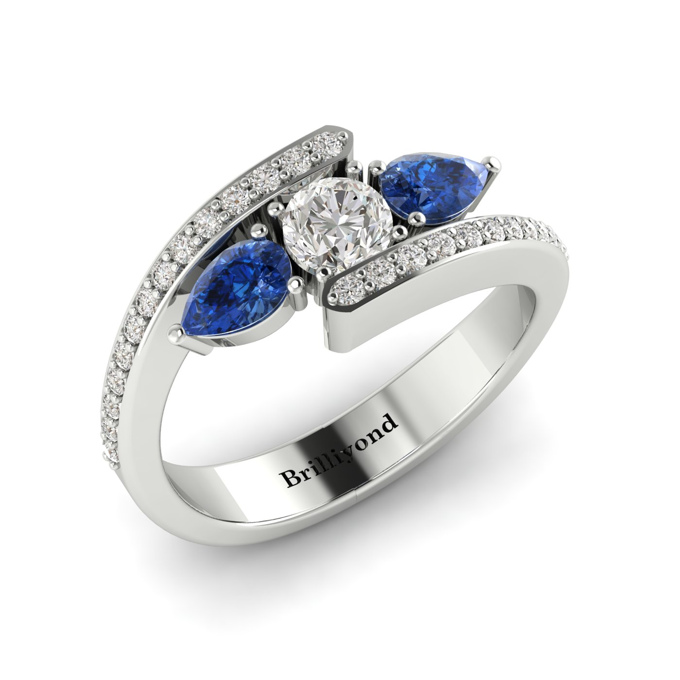 White Sapphire Blue Sapphire White Gold Colour Accented Engagement Ring Naiad_image2