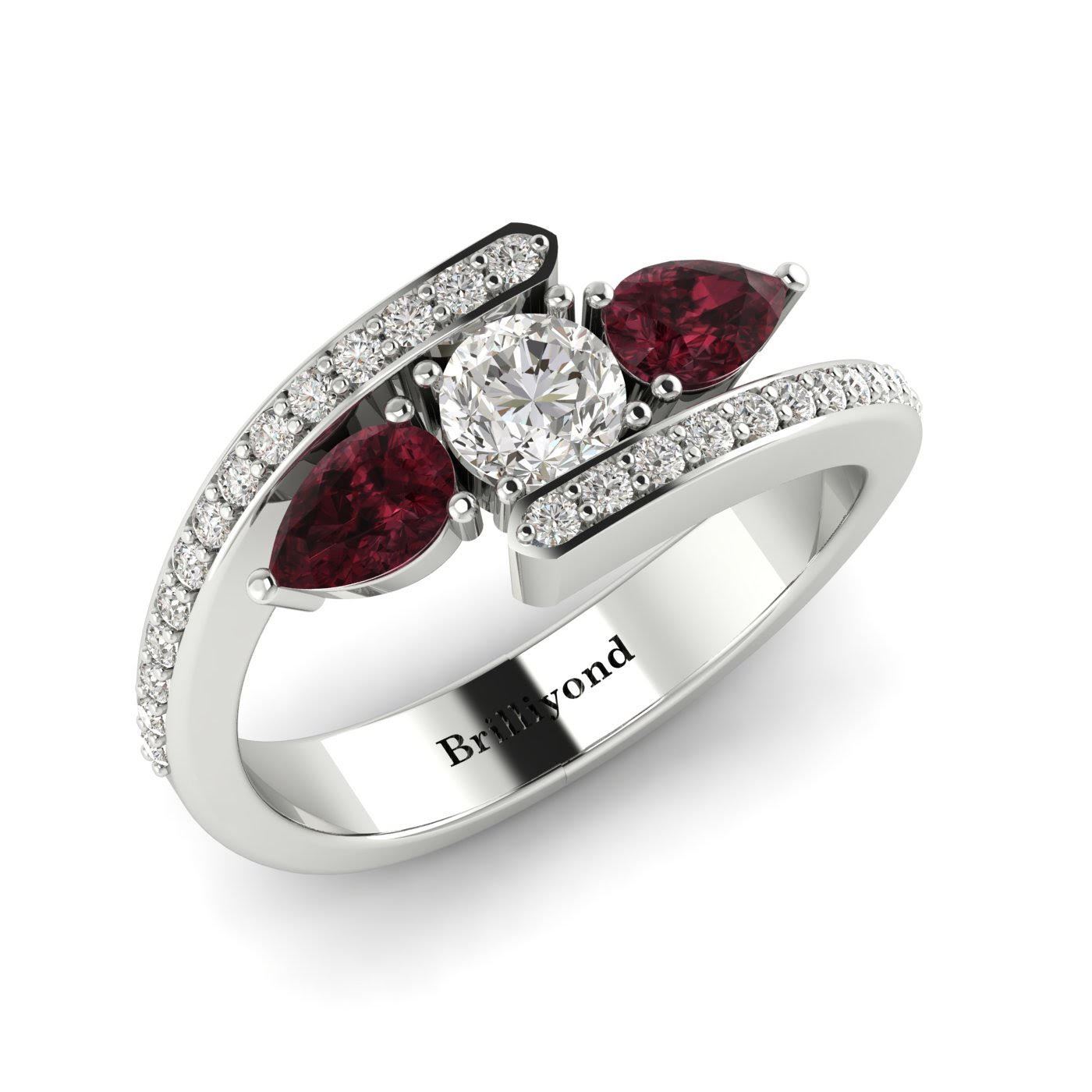 White Sapphire Garnet White Gold Colour Accented Engagement Ring Naiad_image1