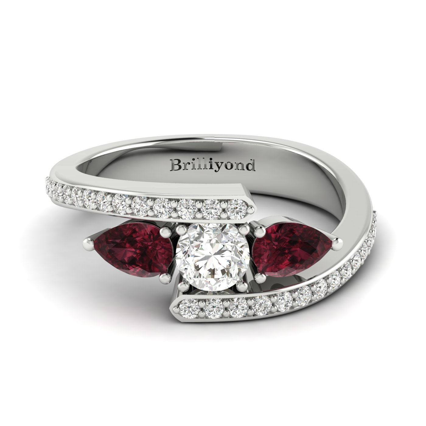 White Sapphire Garnet White Gold Colour Accented Engagement Ring Naiad_image2