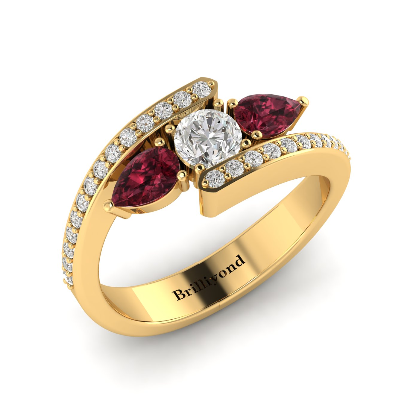 White Sapphire Garnet Yellow Gold Colour Accented Engagement Ring Naiad_image1