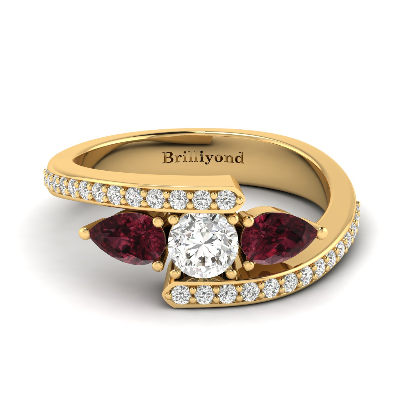 White Sapphire Garnet Yellow Gold Colour Accented Engagement Ring Naiad_image2