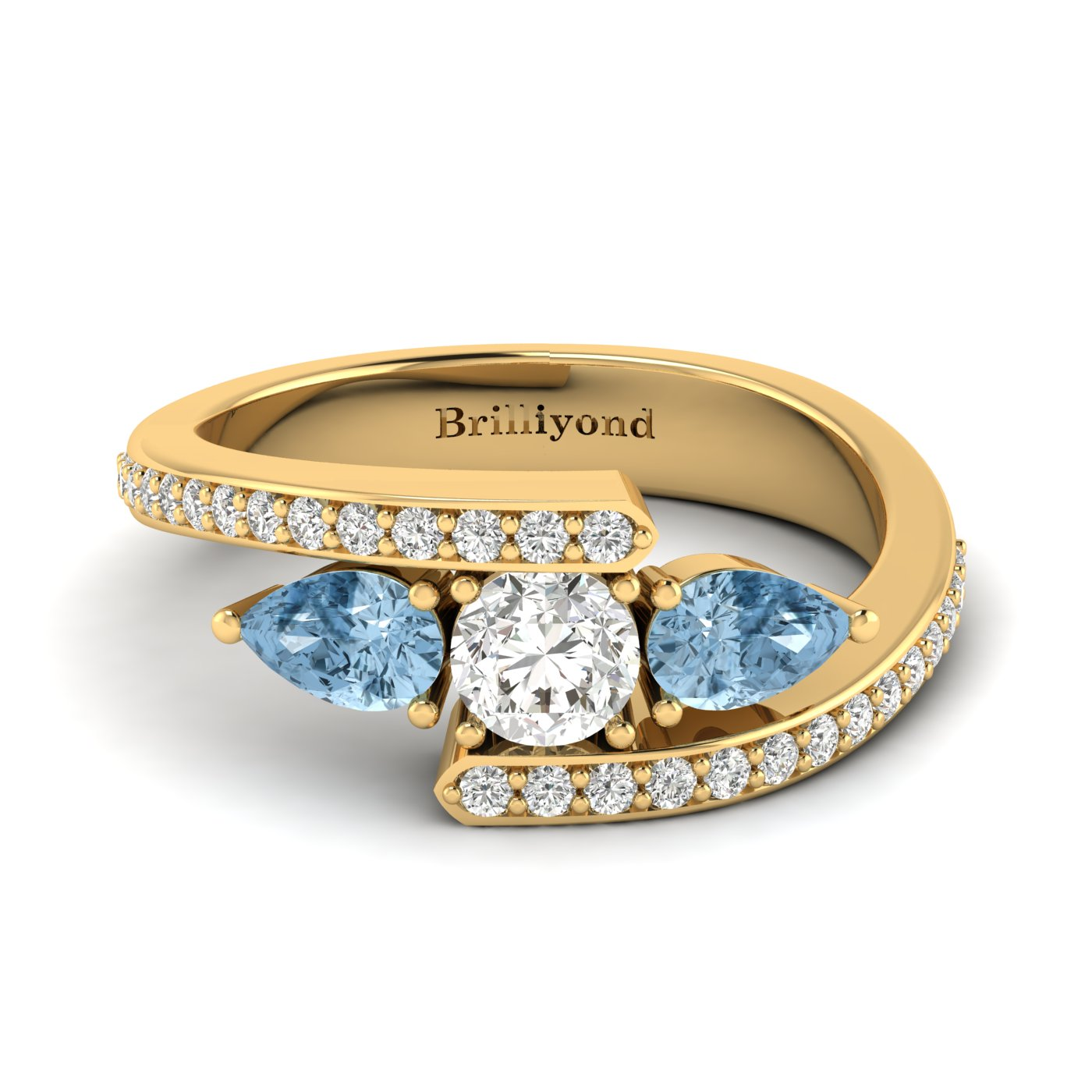 White Sapphire Aquamarine Yellow Gold Colour Accented Engagement Ring Naiad_image1