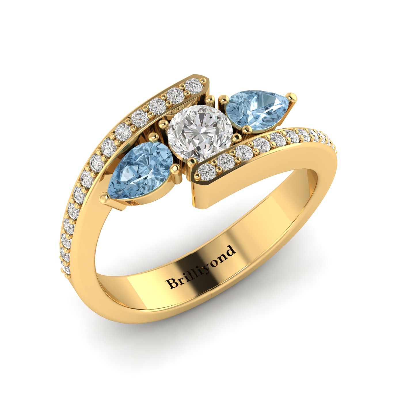 White Sapphire Aquamarine Yellow Gold Colour Accented Engagement Ring Naiad_image2