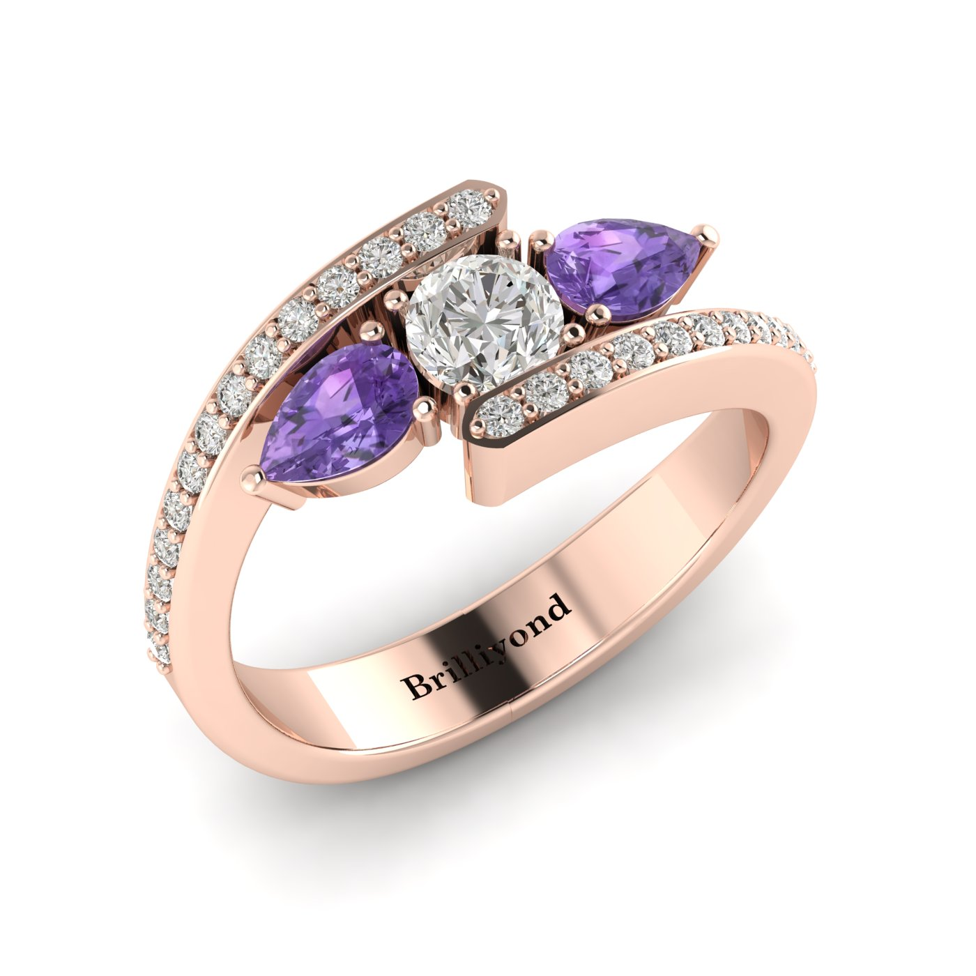 White Sapphire Amethyst Rose Gold Colour Accented Engagement Ring Naiad_image2