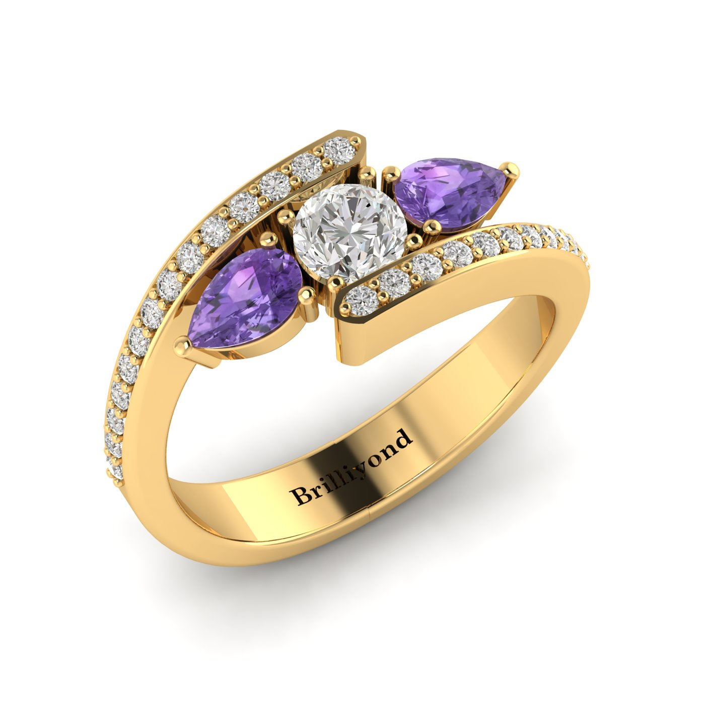 White Sapphire Amethyst Yellow Gold Colour Accented Engagement Ring Naiad_image1