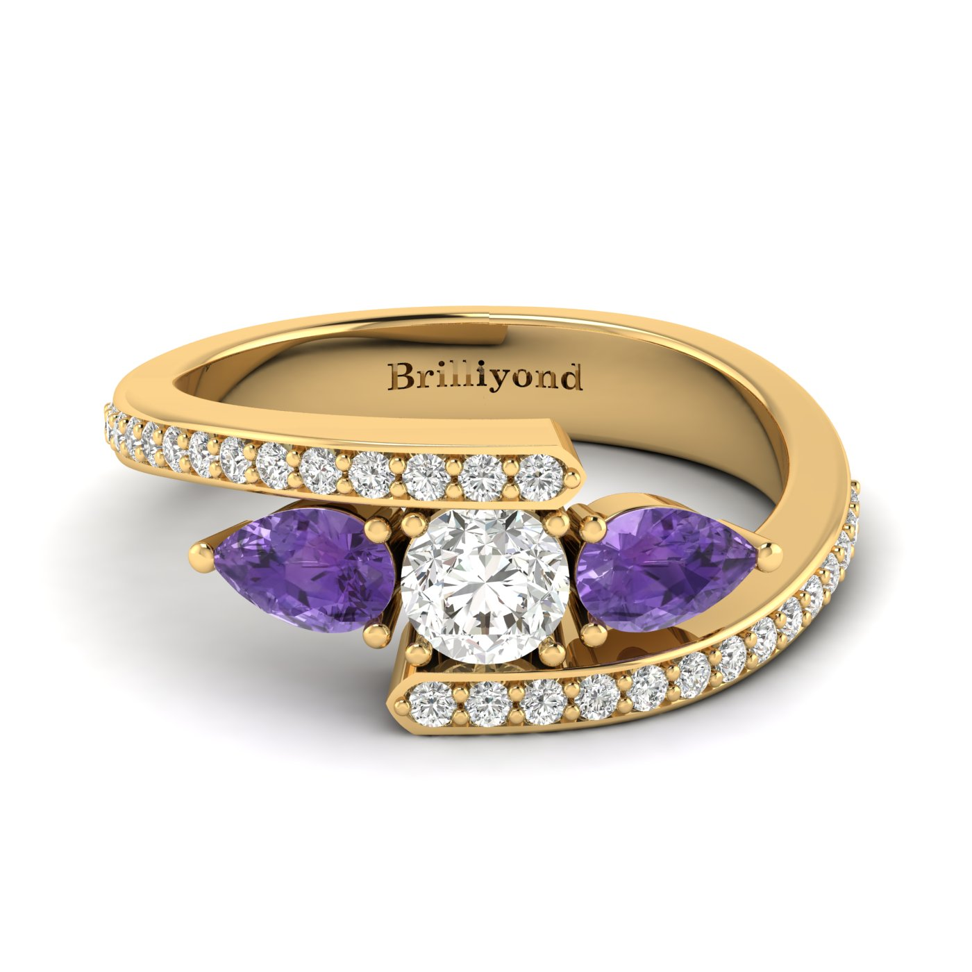White Sapphire Amethyst Yellow Gold Colour Accented Engagement Ring Naiad_image2