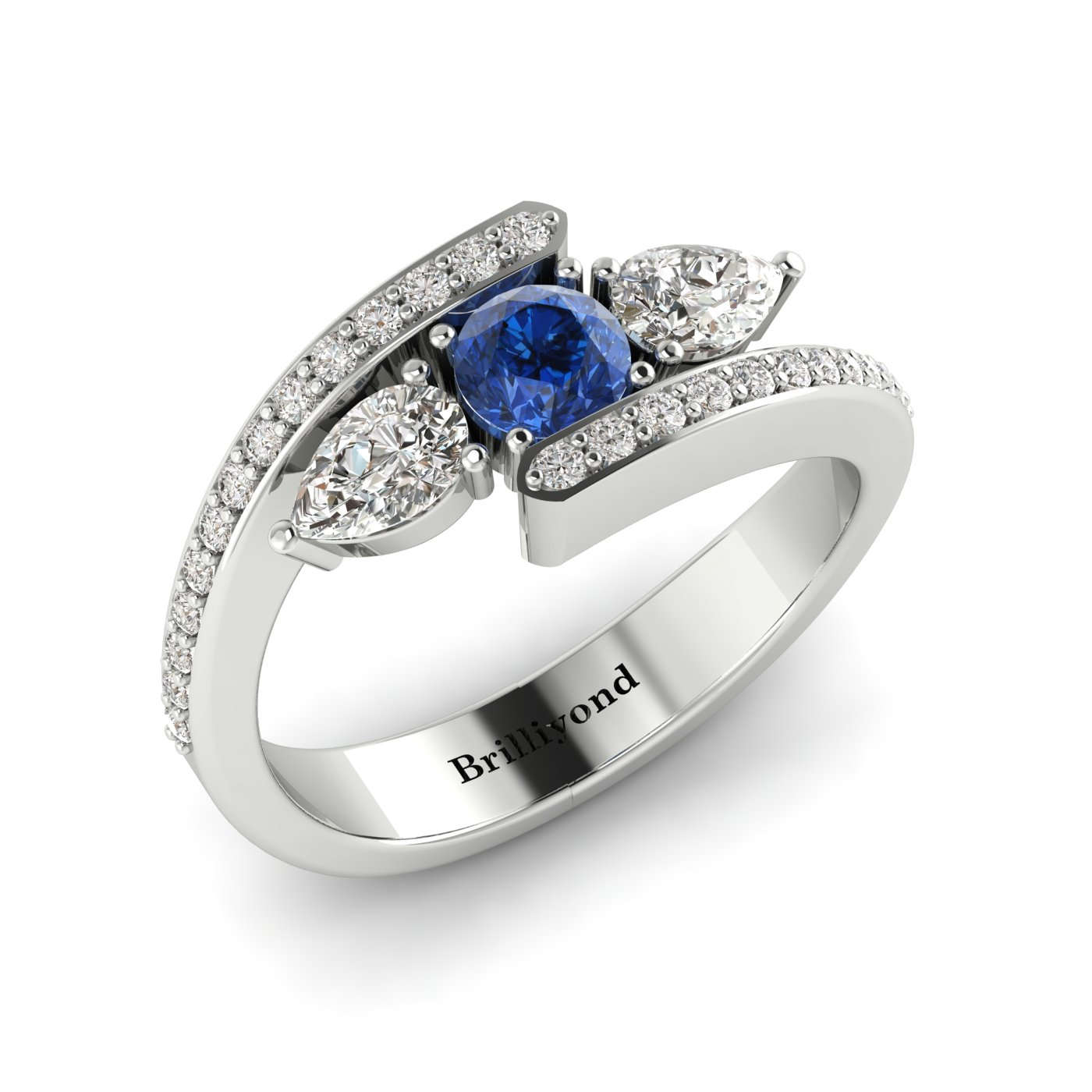 Blue Sapphire White Sapphire White Gold Colour Accented Engagement Ring Naiad_image1