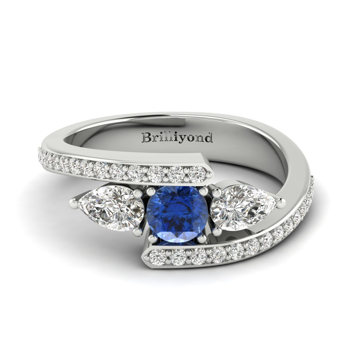 Blue Sapphire White Sapphire White Gold Colour Accented Engagement Ring Naiad_image2