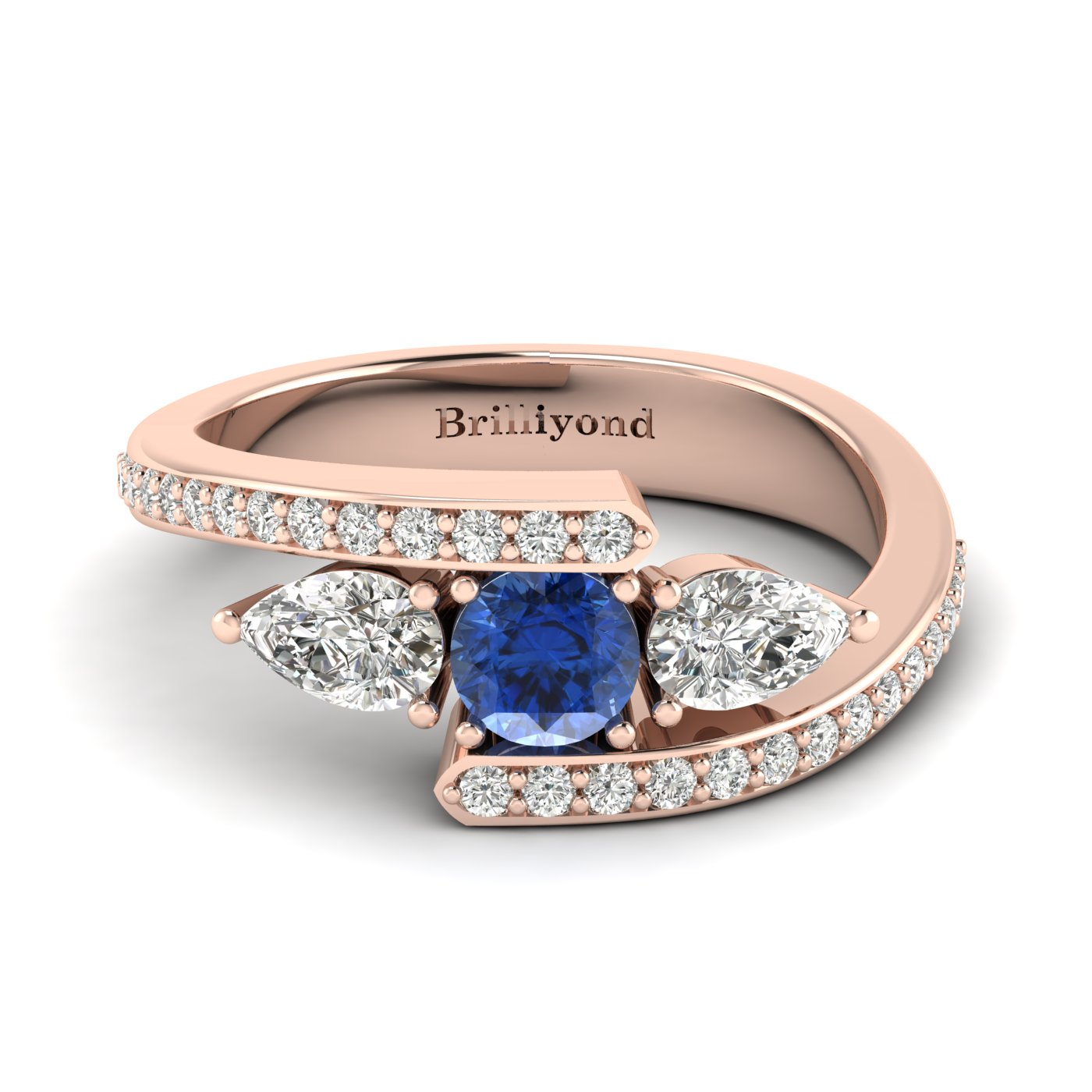 Blue Sapphire White Sapphire Rose Gold Colour Accented Engagement Ring Naiad_image1