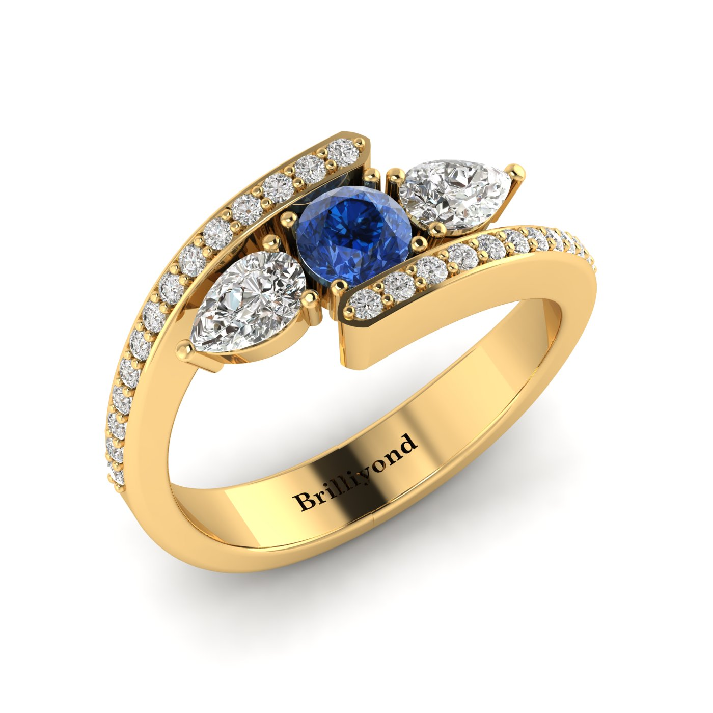 Blue Sapphire White Sapphire Yellow Gold Colour Accented Engagement Ring Naiad_image1