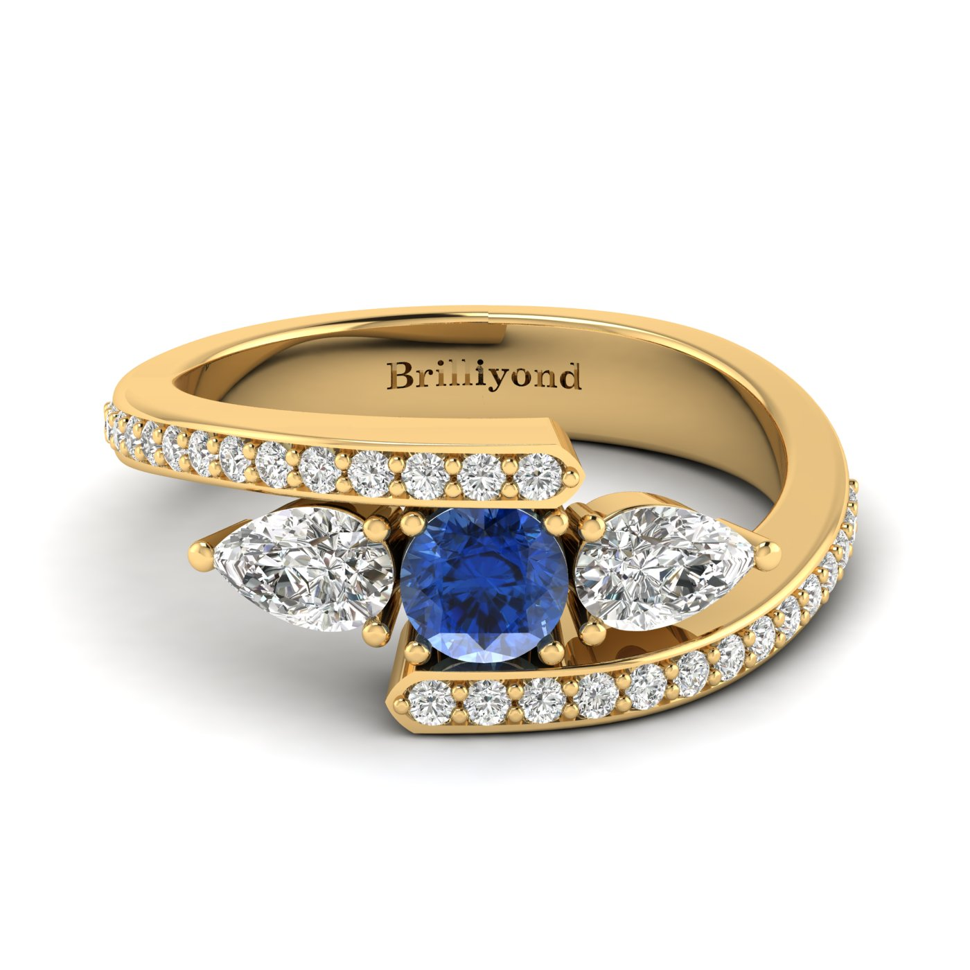 Blue Sapphire White Sapphire Yellow Gold Colour Accented Engagement Ring Naiad_image2