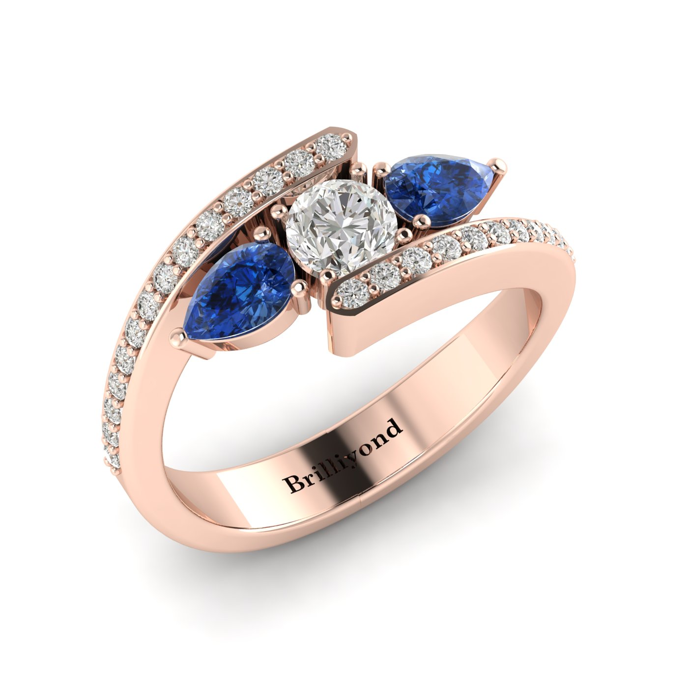Diamond Blue Sapphire Rose Gold Colour Accented Engagement Ring Naiad_image1