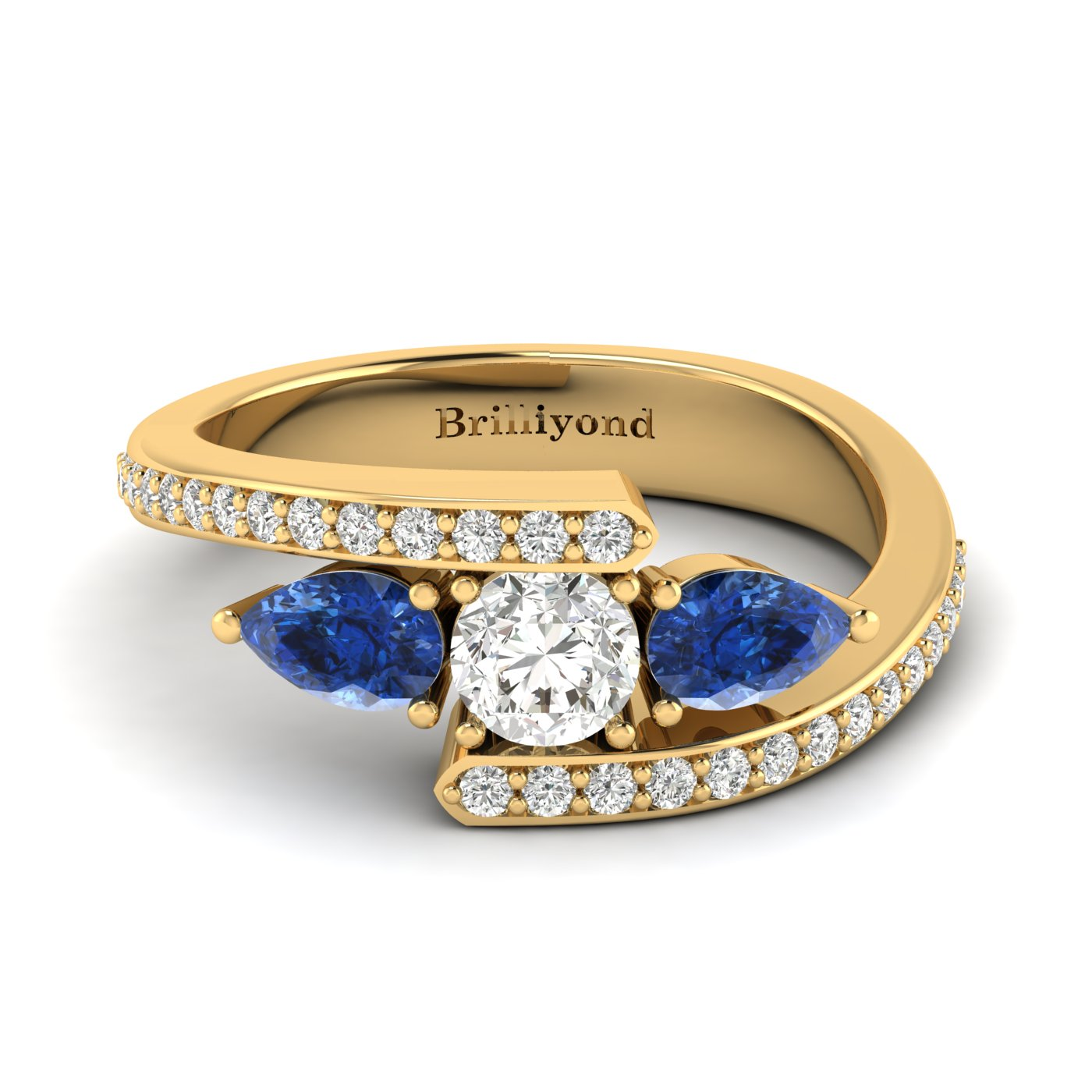 Diamond Blue Sapphire Yellow Gold Colour Accented Engagement Ring Naiad_image1