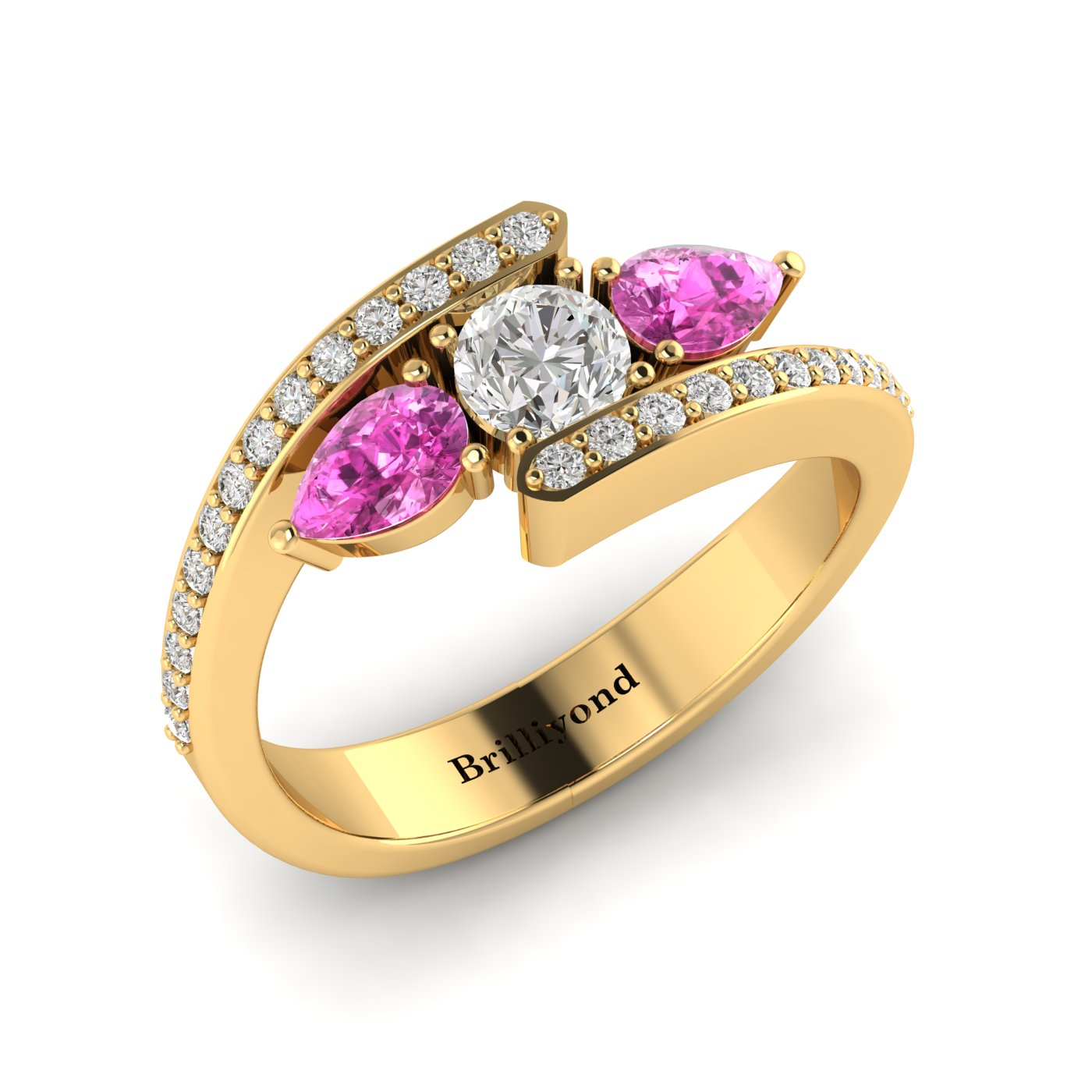 Diamond Pink Sapphire Yellow Gold Colour Accented Engagement Ring Naiad_image1