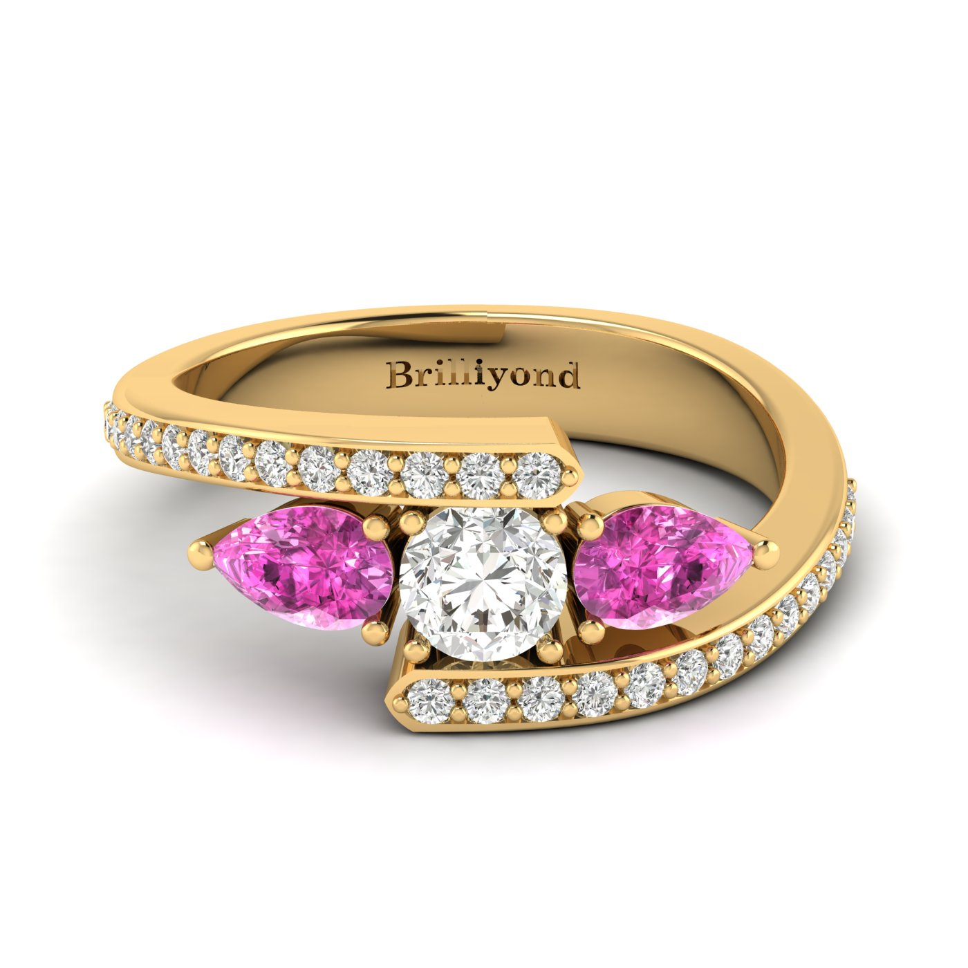 Diamond Pink Sapphire Yellow Gold Colour Accented Engagement Ring Naiad_image2